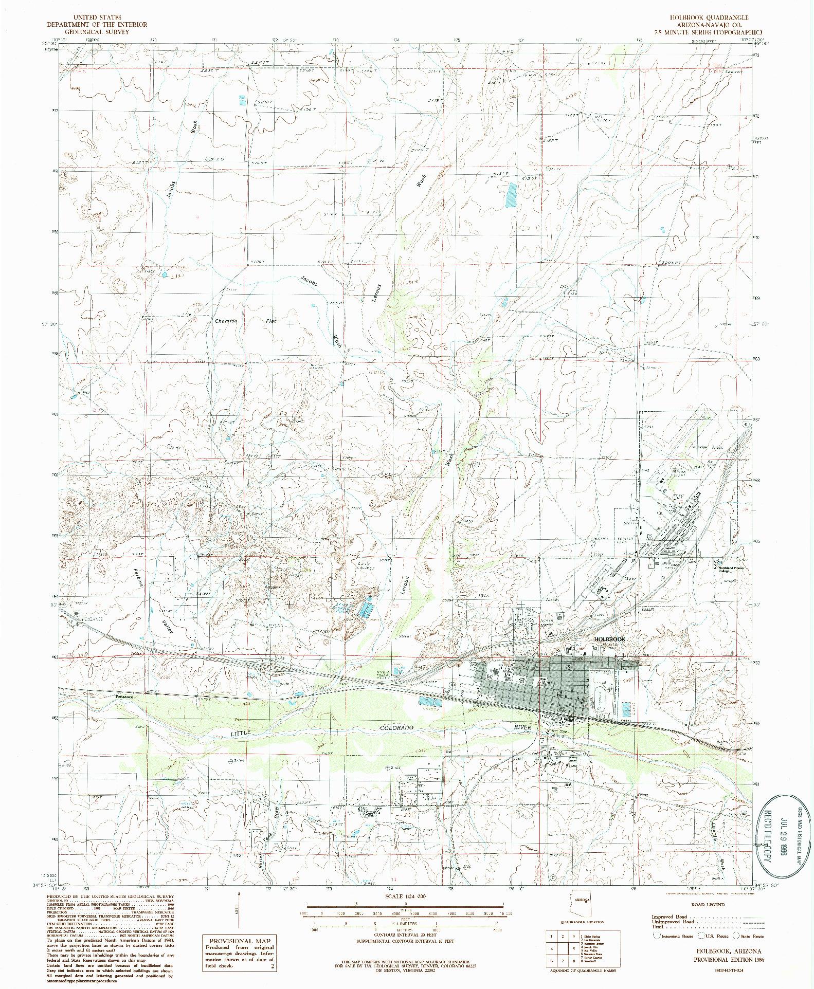 USGS 1:24000-SCALE QUADRANGLE FOR HOLBROOK, AZ 1986