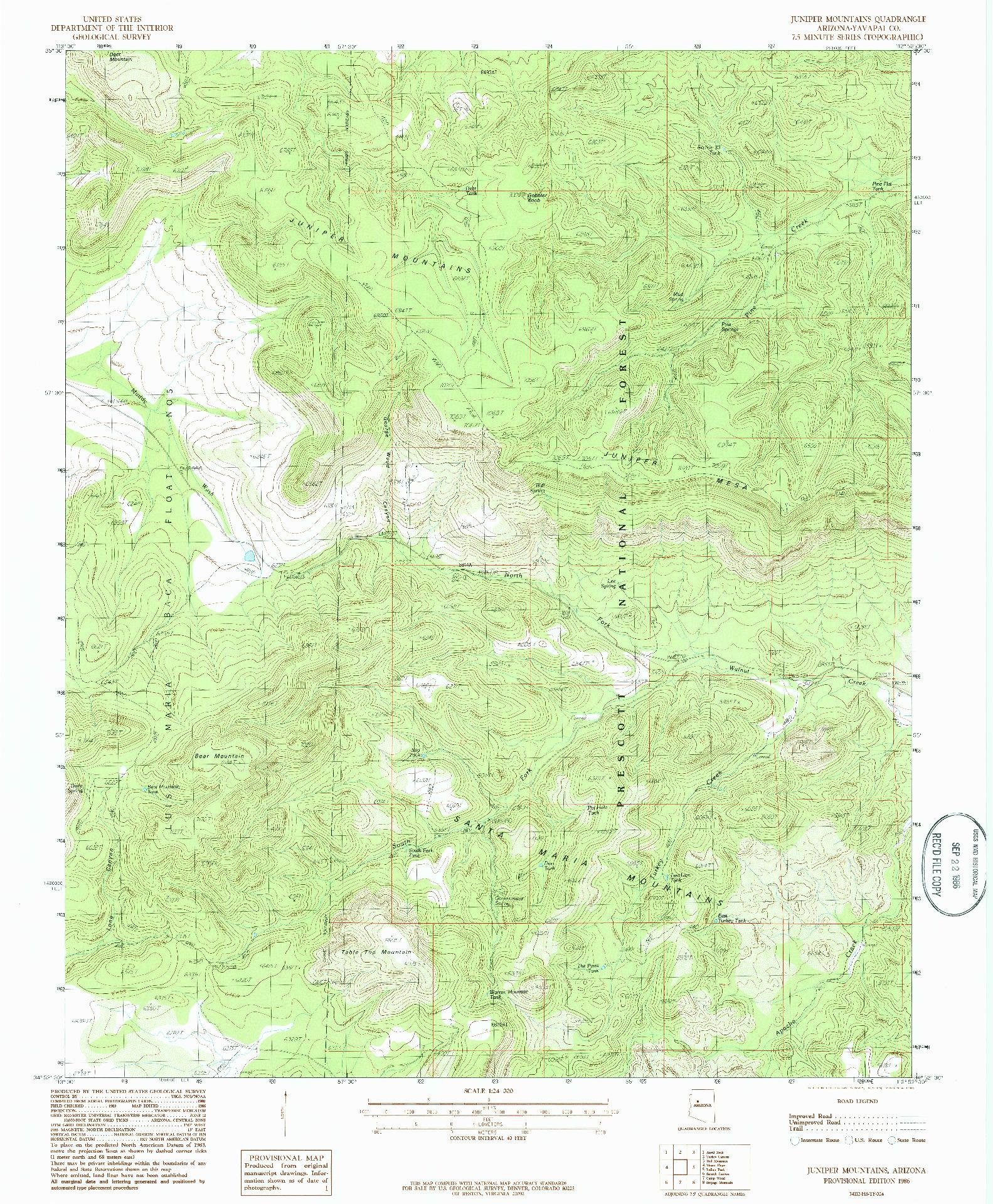 USGS 1:24000-SCALE QUADRANGLE FOR JUNIPER MOUNTAINS, AZ 1986