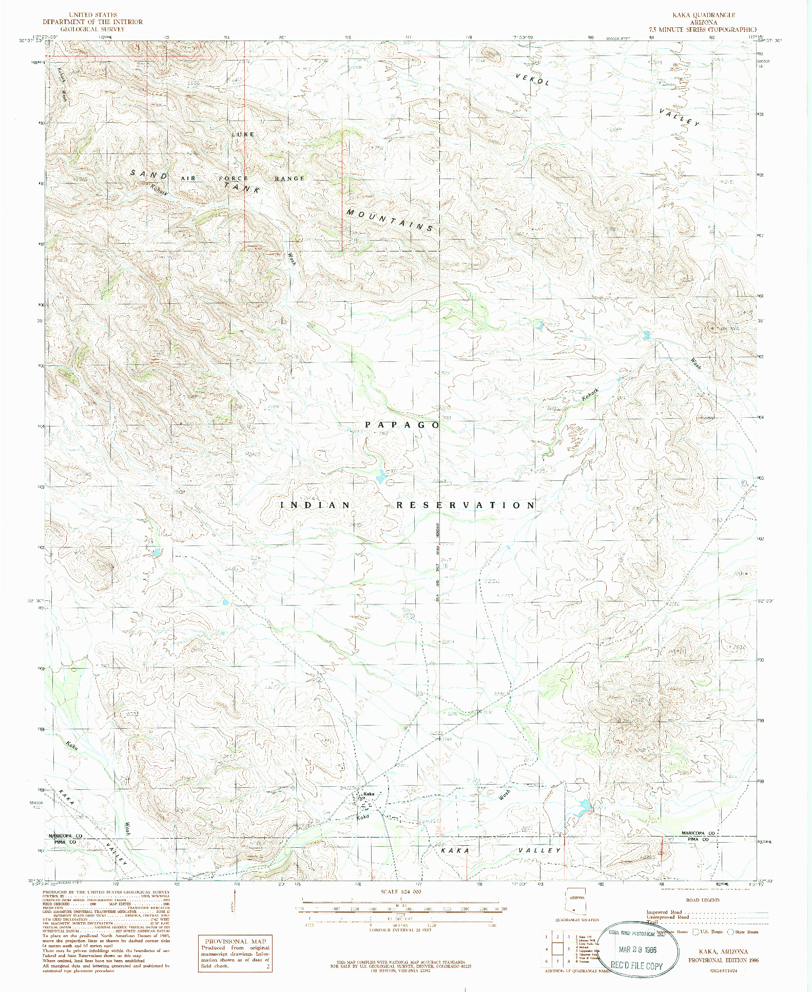 USGS 1:24000-SCALE QUADRANGLE FOR KAKA, AZ 1986