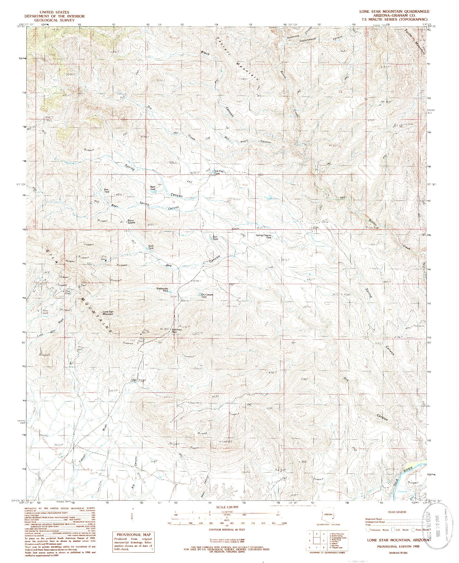 USGS 1:24000-SCALE QUADRANGLE FOR LONE STAR MOUNTAIN, AZ 1985