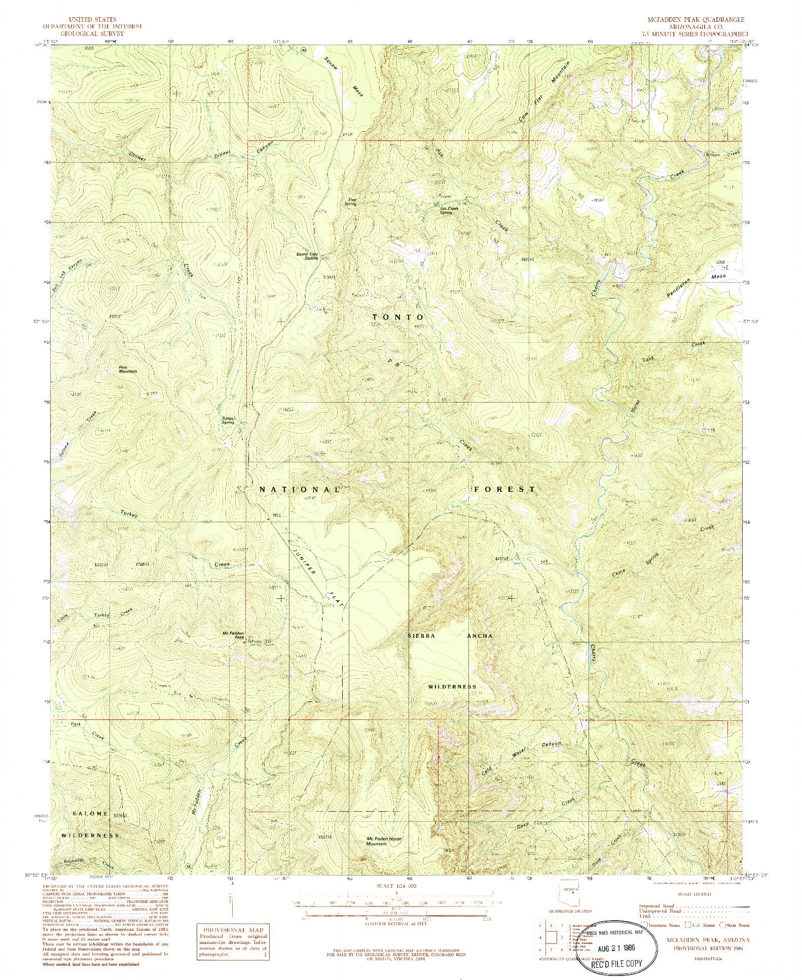 USGS 1:24000-SCALE QUADRANGLE FOR MCFADDEN PEAK, AZ 1986