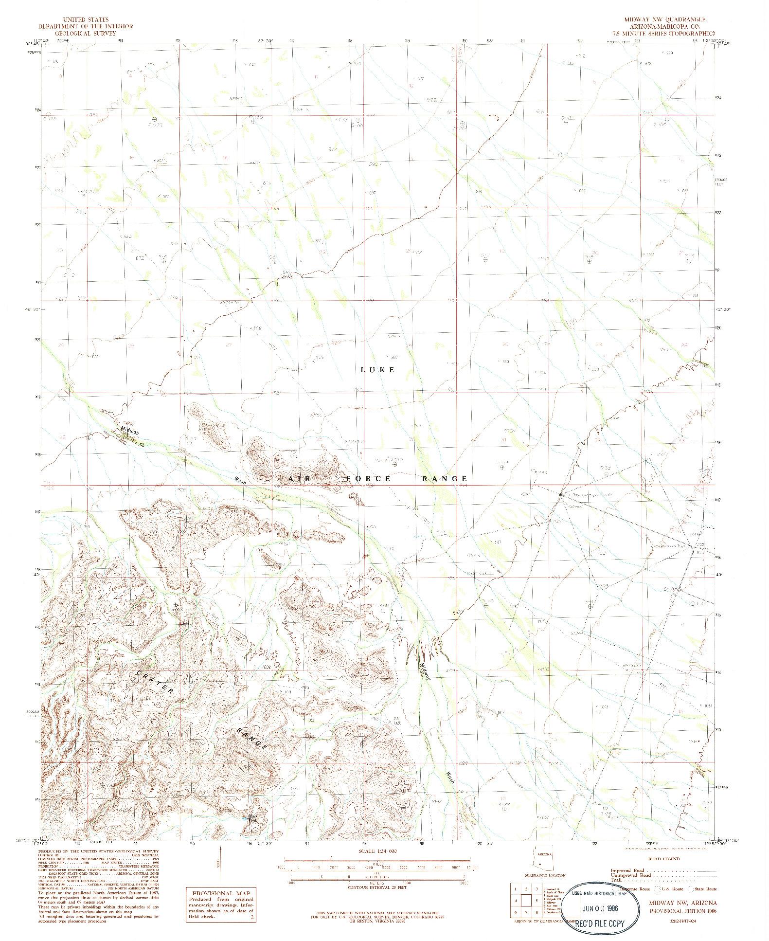 USGS 1:24000-SCALE QUADRANGLE FOR MIDWAY NW, AZ 1986