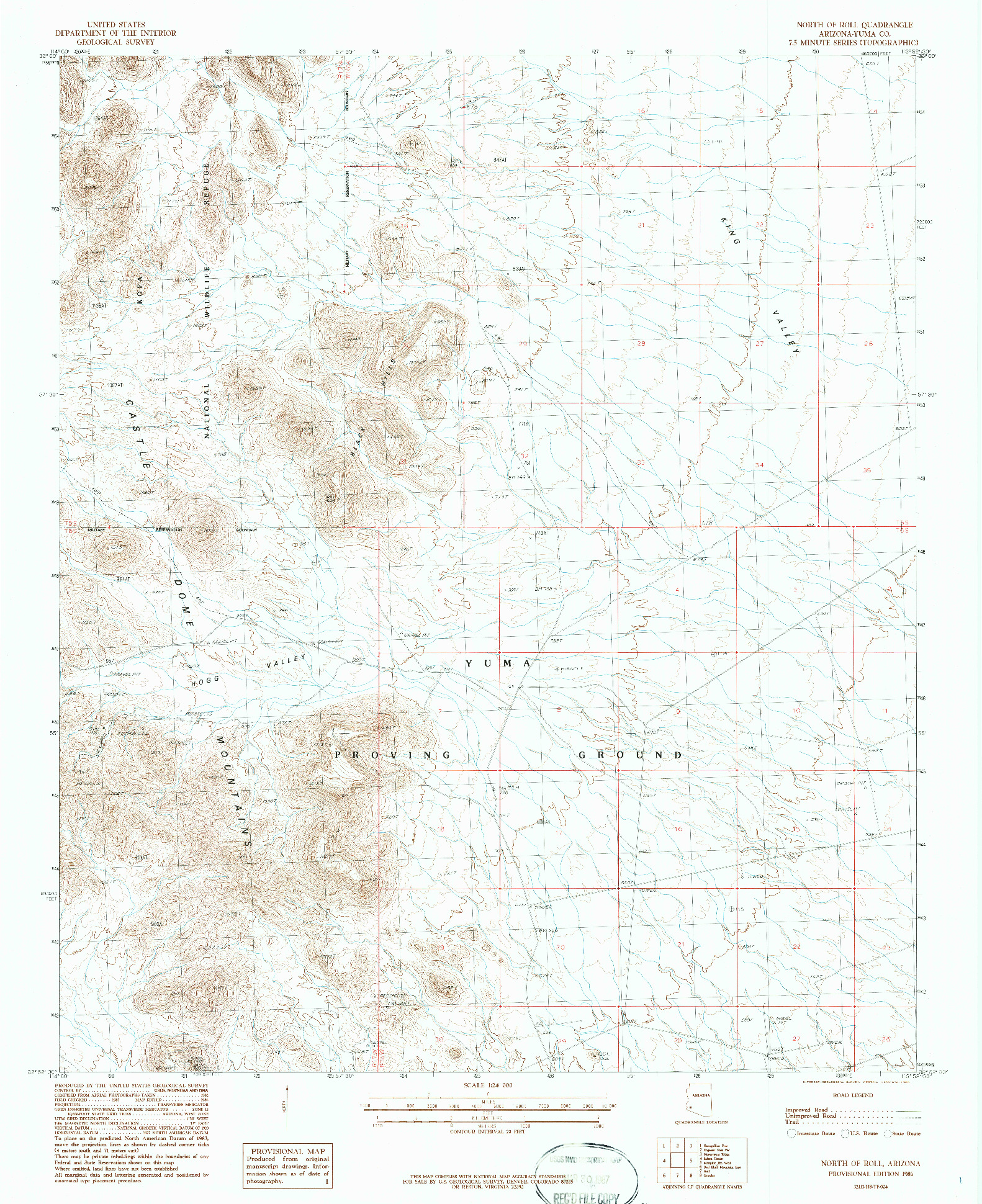 USGS 1:24000-SCALE QUADRANGLE FOR NORTH OF ROLL, AZ 1986
