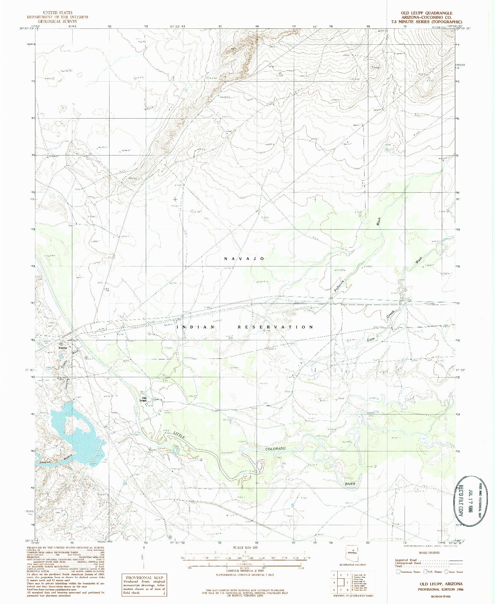USGS 1:24000-SCALE QUADRANGLE FOR OLD LEUPP, AZ 1986