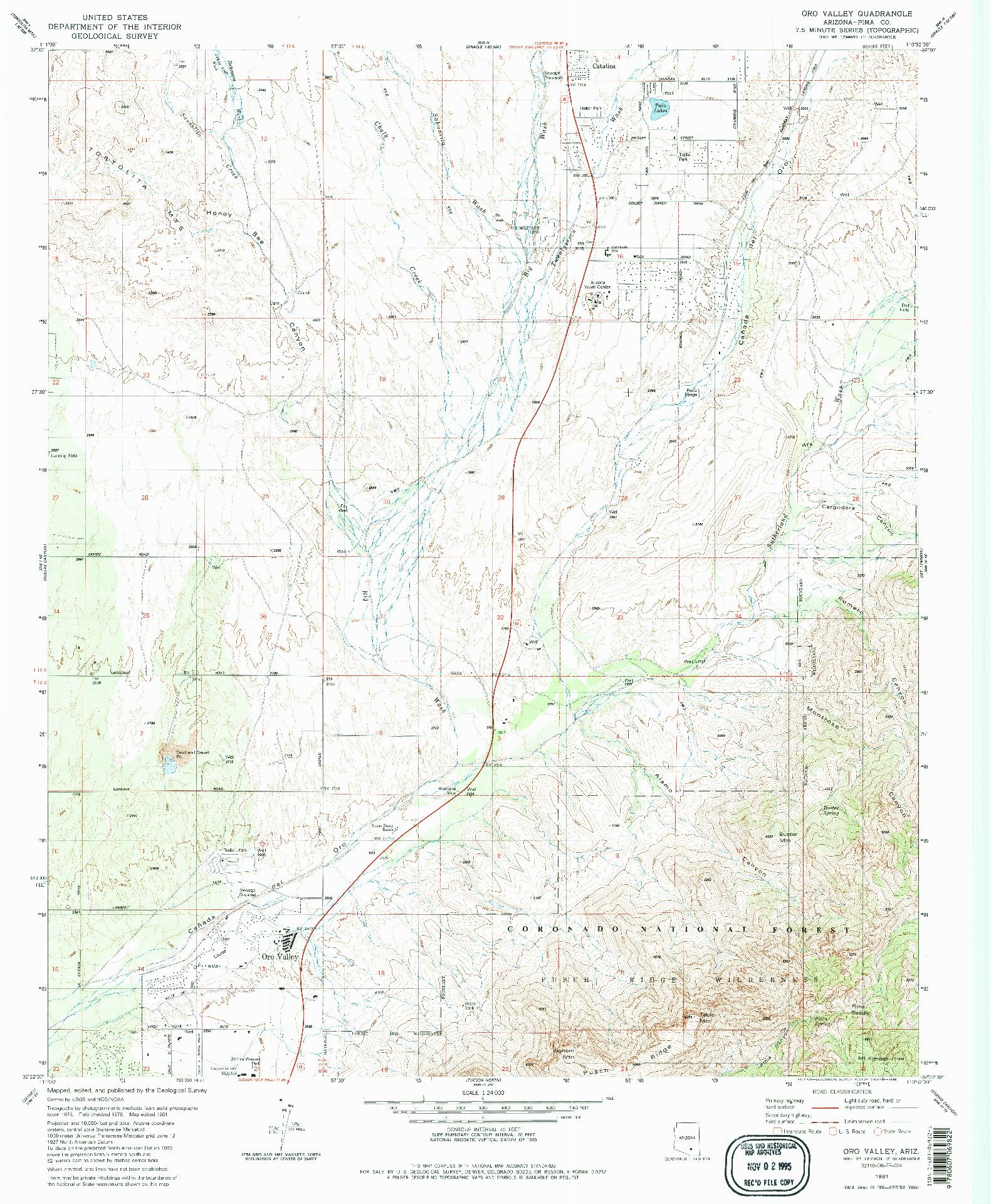 USGS 1:24000-SCALE QUADRANGLE FOR ORO VALLEY, AZ 1981