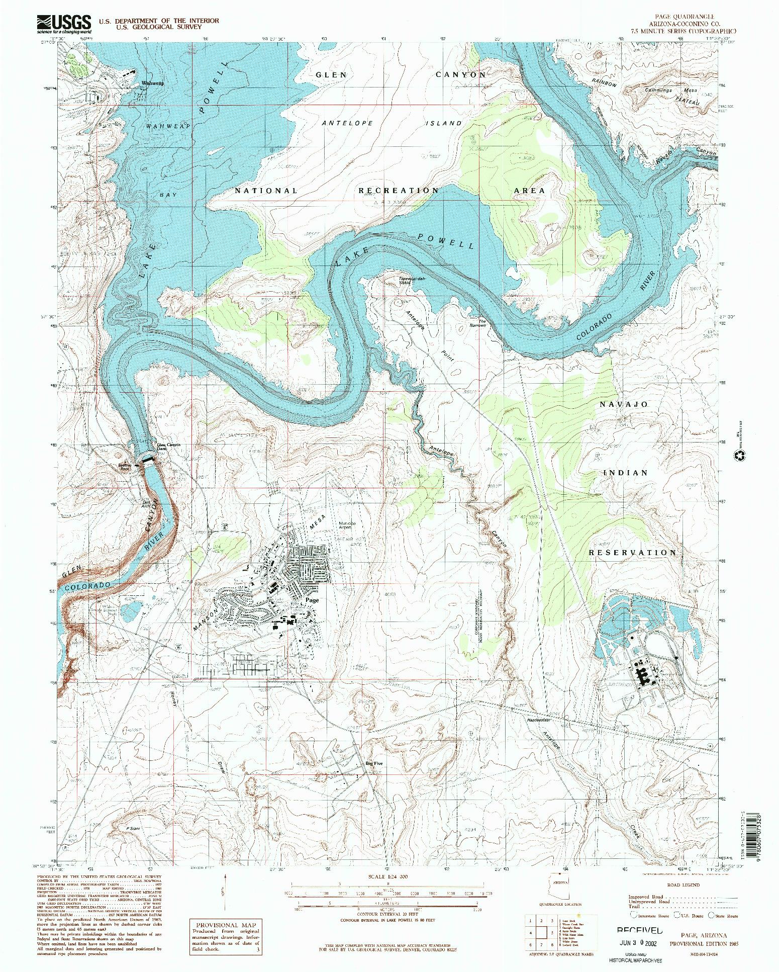 USGS 1:24000-SCALE QUADRANGLE FOR PAGE, AZ 1985