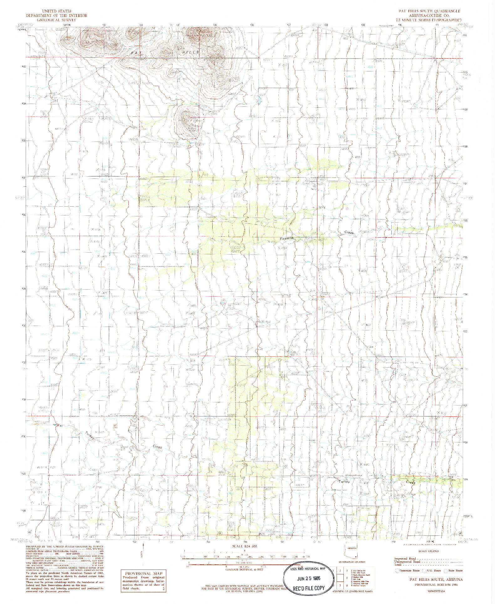 USGS 1:24000-SCALE QUADRANGLE FOR PAT HILLS SOUTH, AZ 1986