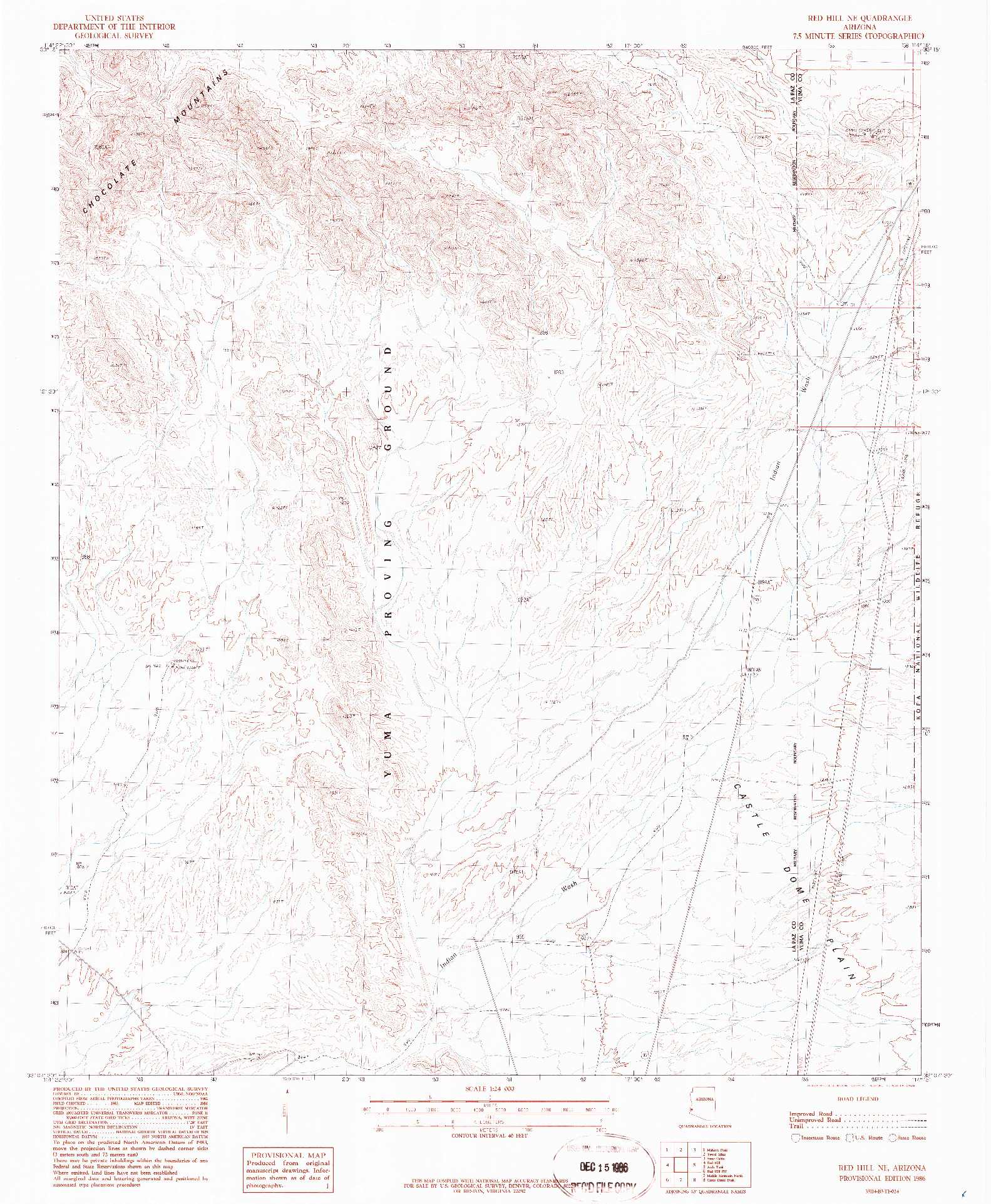 USGS 1:24000-SCALE QUADRANGLE FOR RED HILL NE, AZ 1986