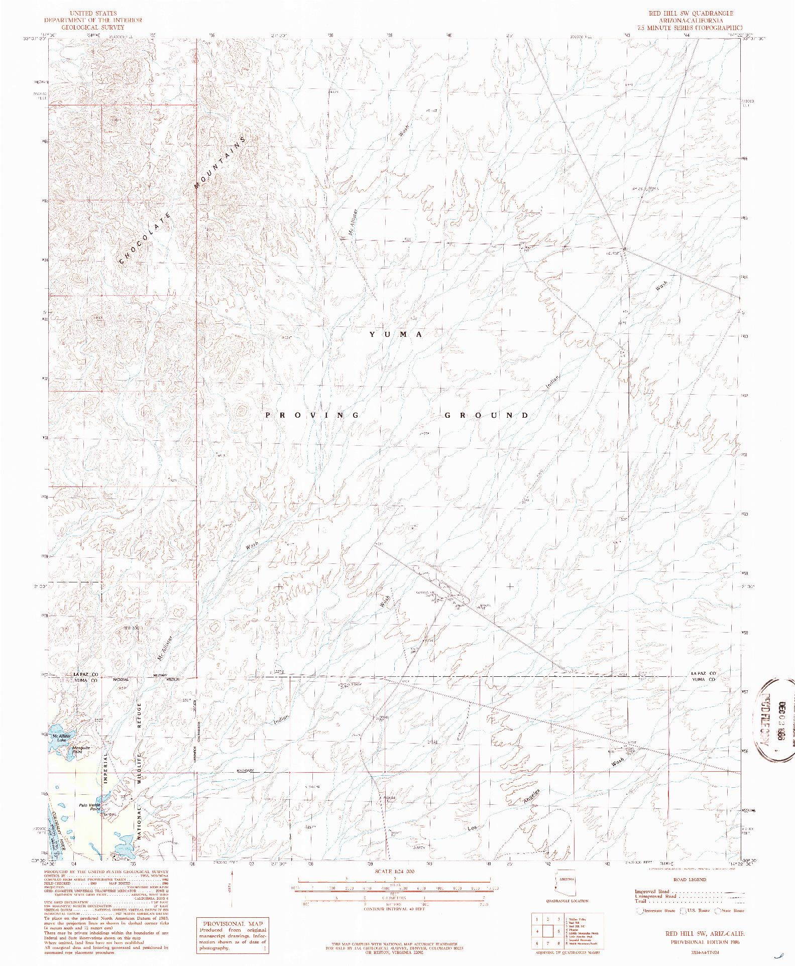 USGS 1:24000-SCALE QUADRANGLE FOR RED HILL SW, AZ 1986