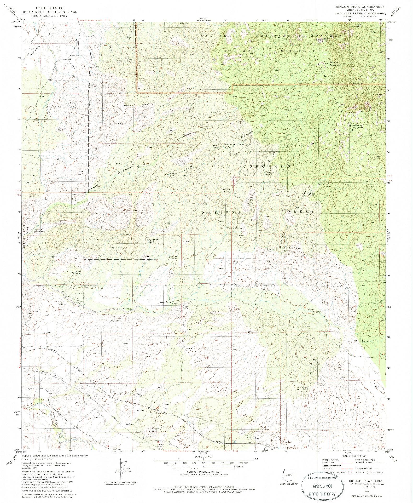 USGS 1:24000-SCALE QUADRANGLE FOR RINCON PEAK, AZ 1981