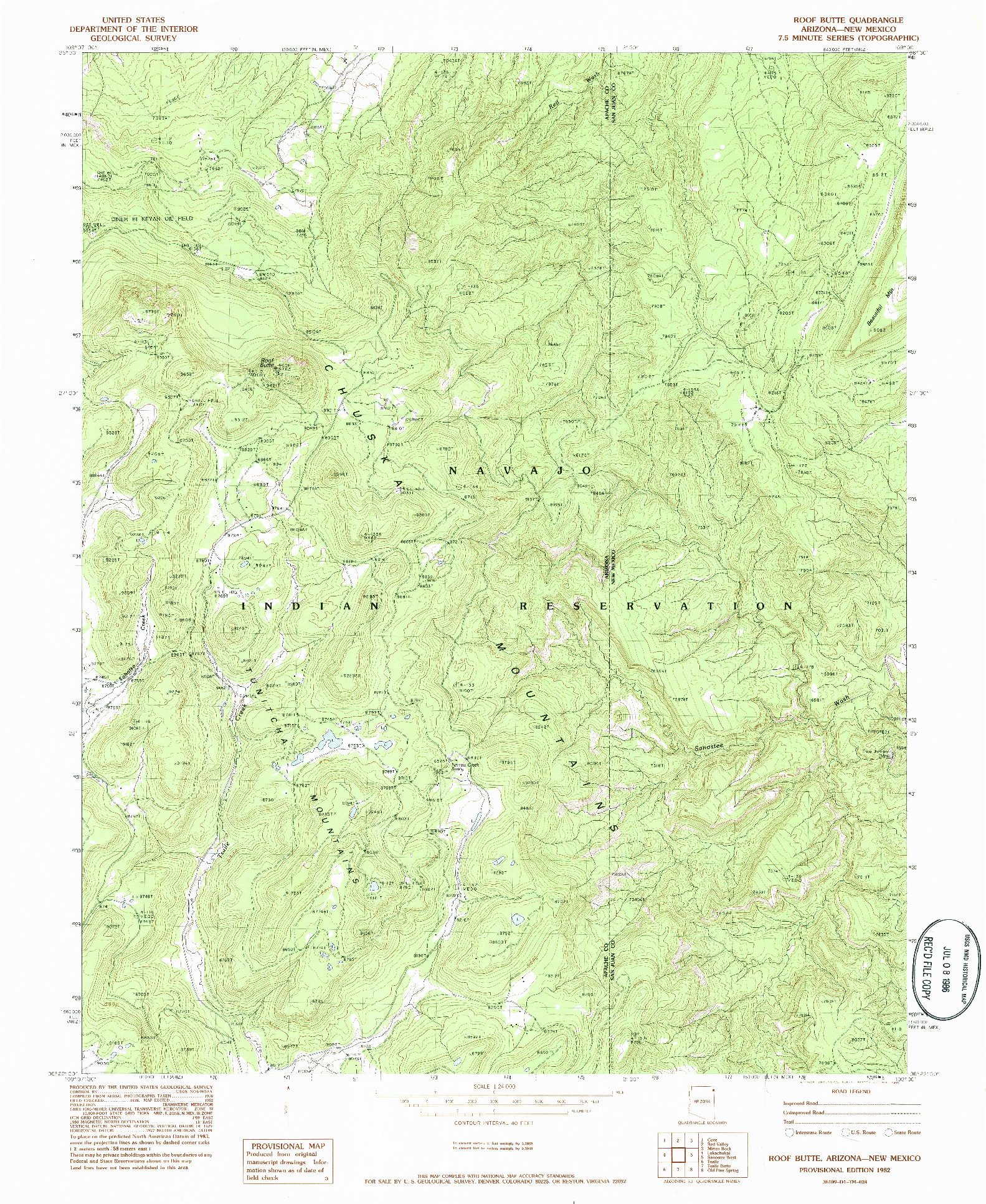 USGS 1:24000-SCALE QUADRANGLE FOR ROOF BUTTE, AZ 1982