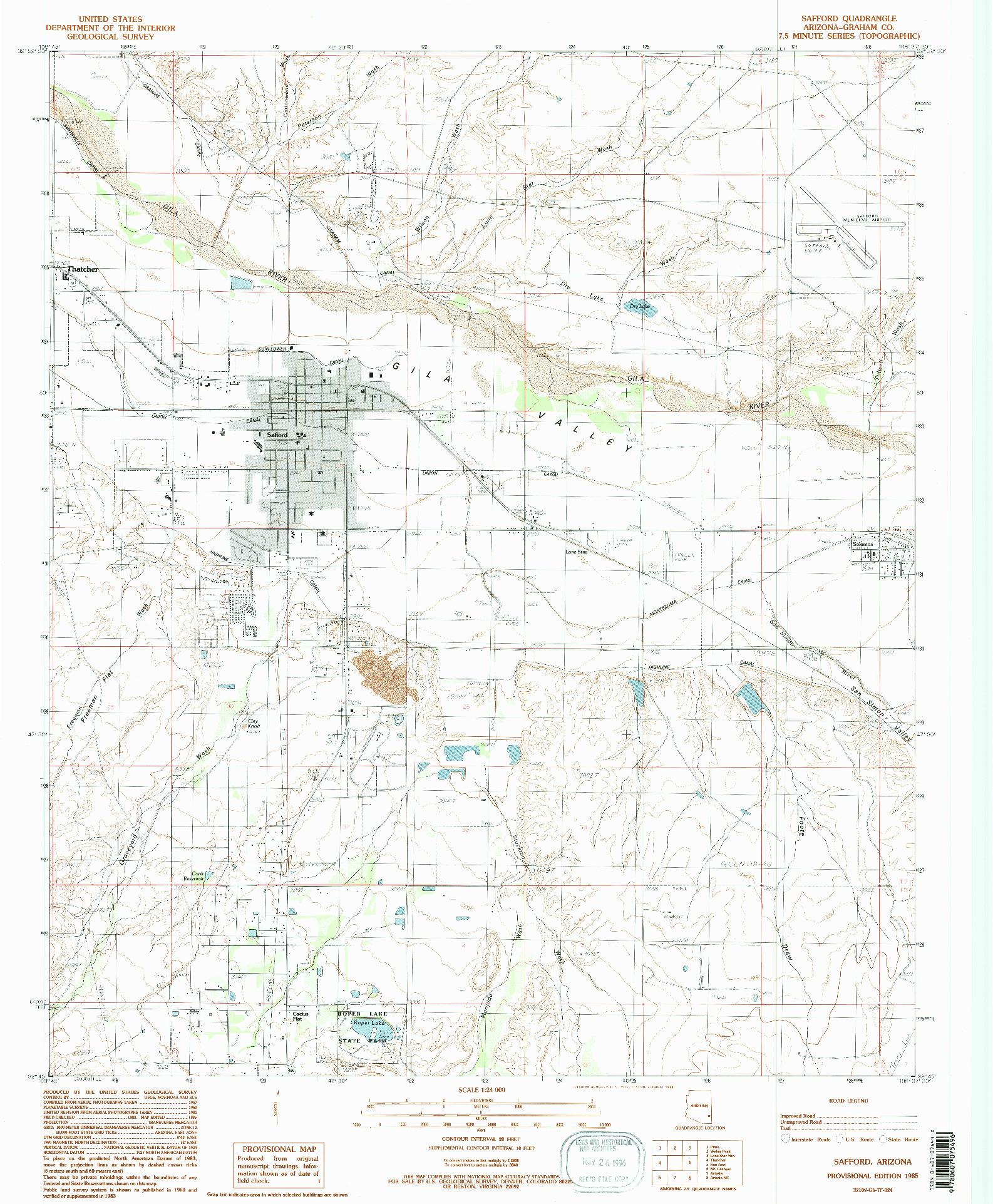 USGS 1:24000-SCALE QUADRANGLE FOR SAFFORD, AZ 1985