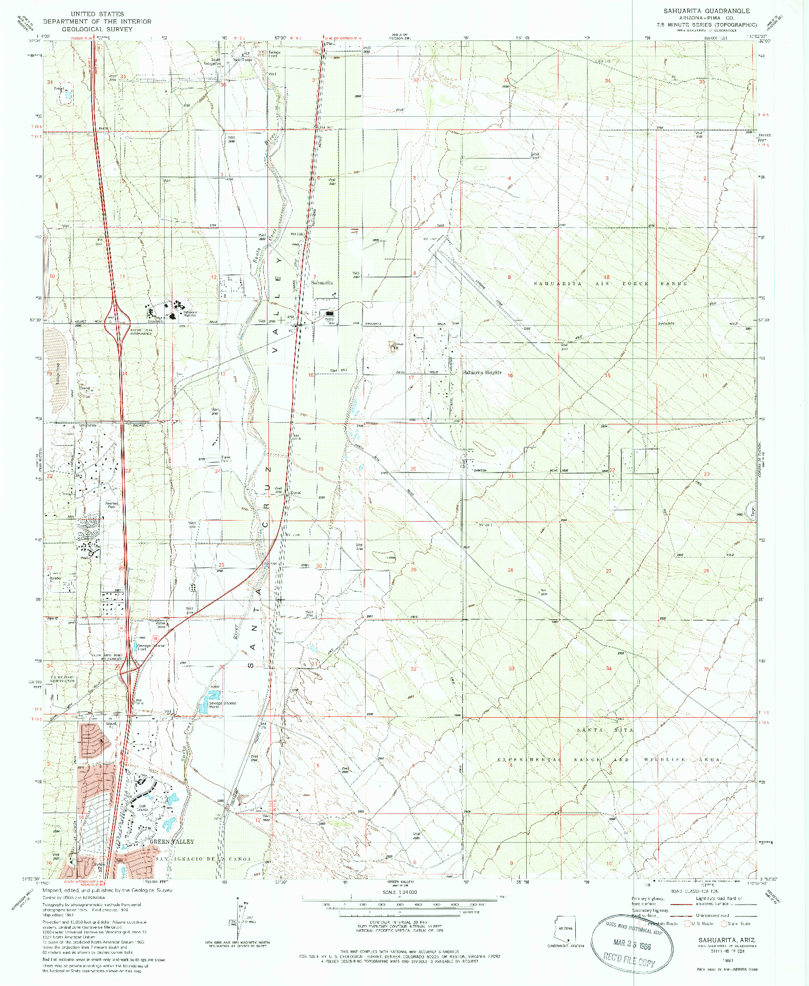 USGS 1:24000-SCALE QUADRANGLE FOR SAHUARITA, AZ 1981