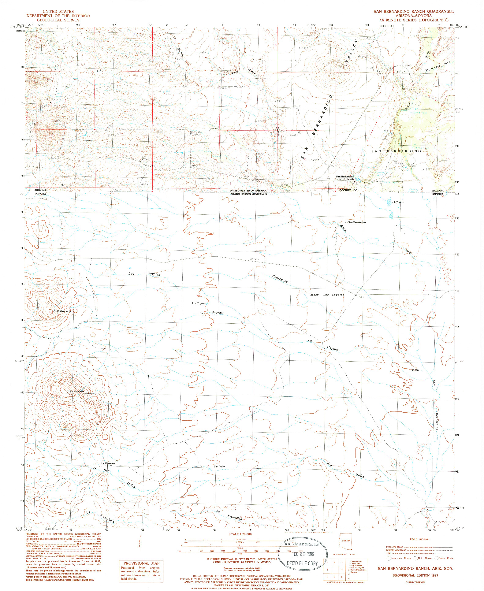 USGS 1:24000-SCALE QUADRANGLE FOR SAN BERNARDINO RANCH, AZ 1985
