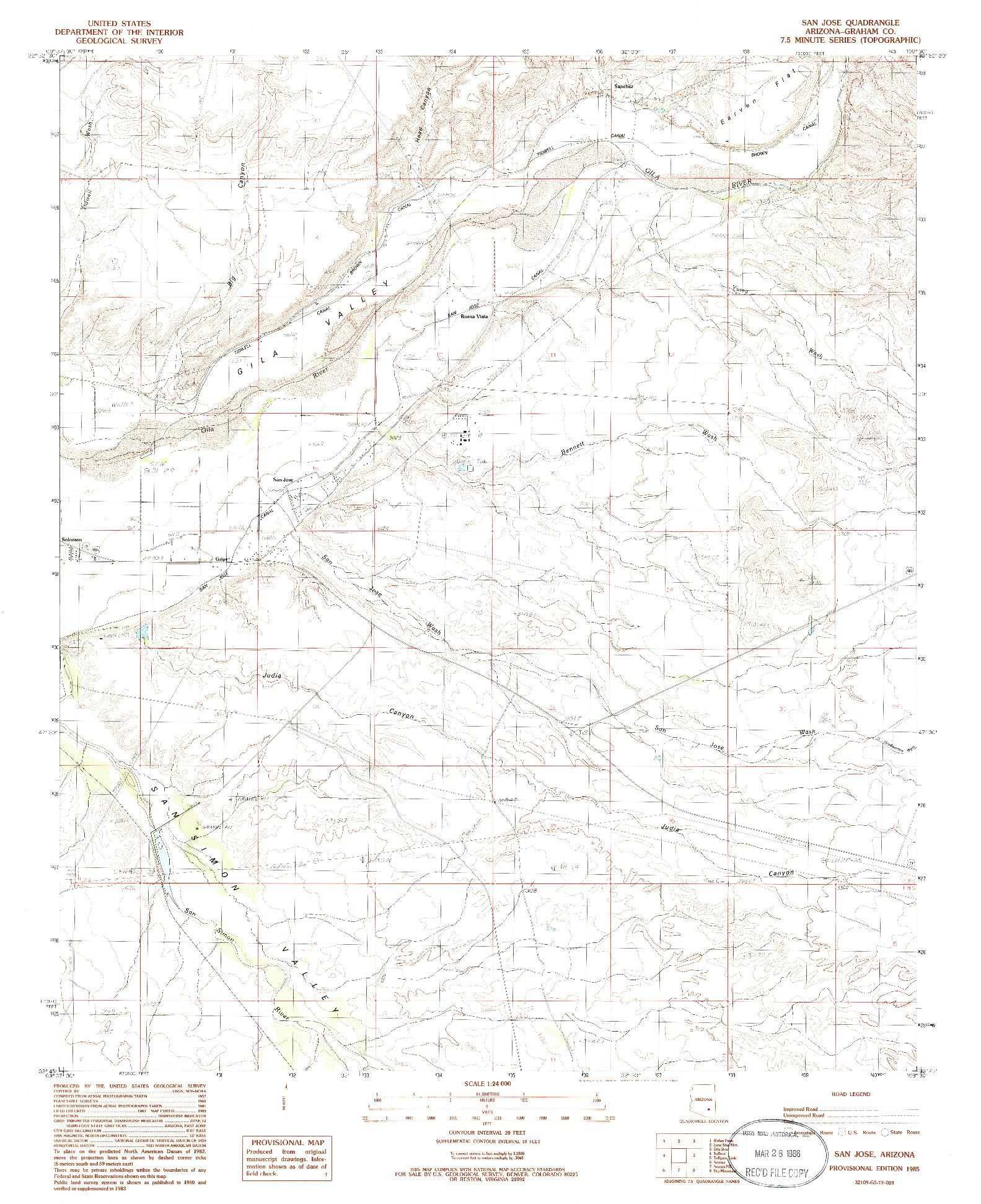 USGS 1:24000-SCALE QUADRANGLE FOR SAN JOSE, AZ 1985