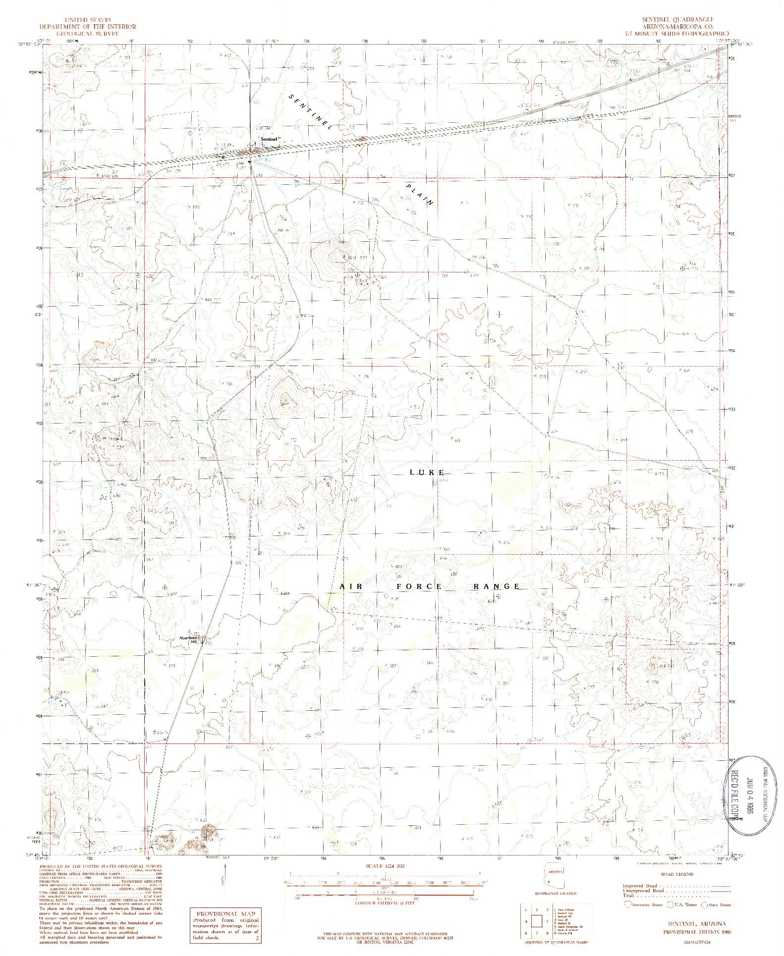 USGS 1:24000-SCALE QUADRANGLE FOR SENTINEL, AZ 1986