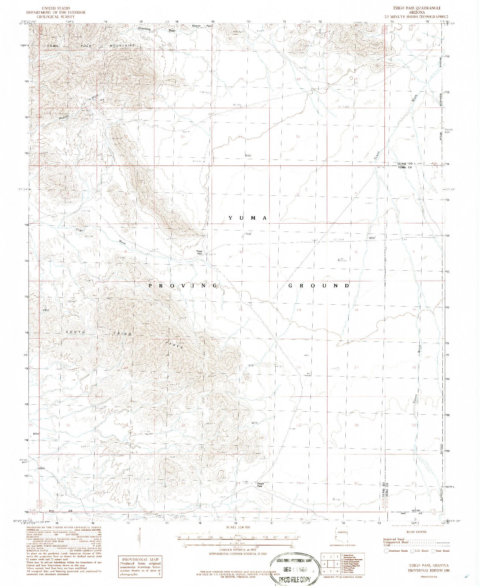 USGS 1:24000-SCALE QUADRANGLE FOR TRIGO PASS, AZ 1986