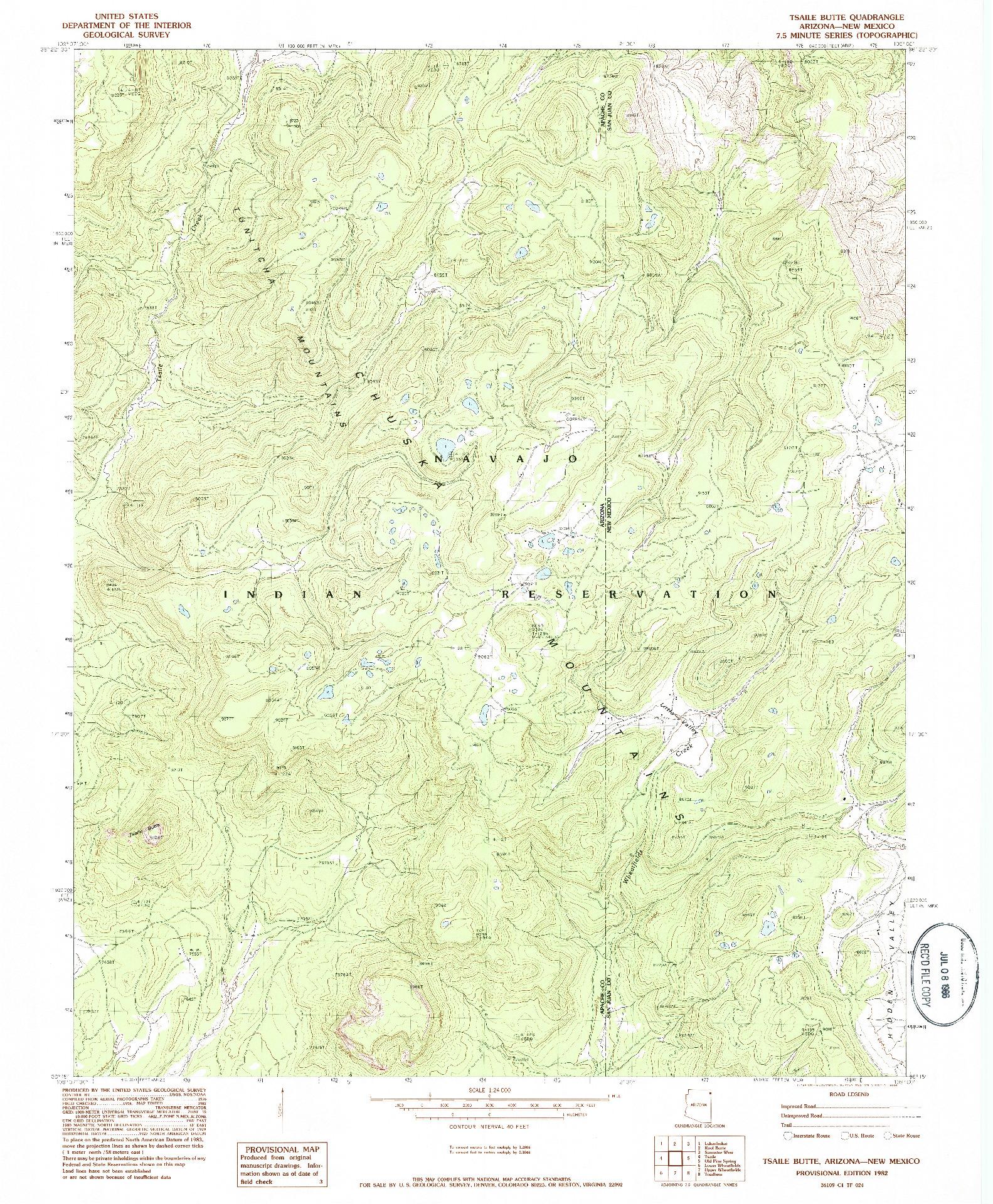 USGS 1:24000-SCALE QUADRANGLE FOR TSAILE BUTTE, AZ 1982