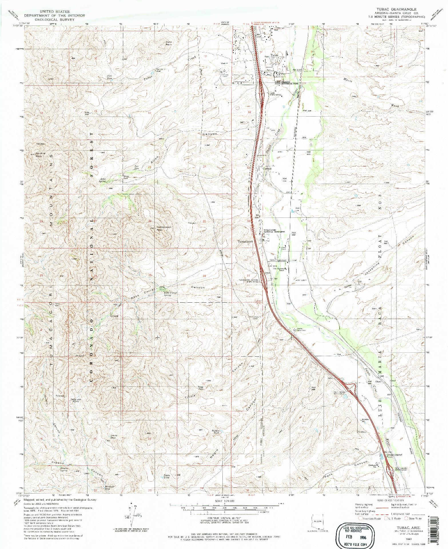USGS 1:24000-SCALE QUADRANGLE FOR TUBAC, AZ 1981