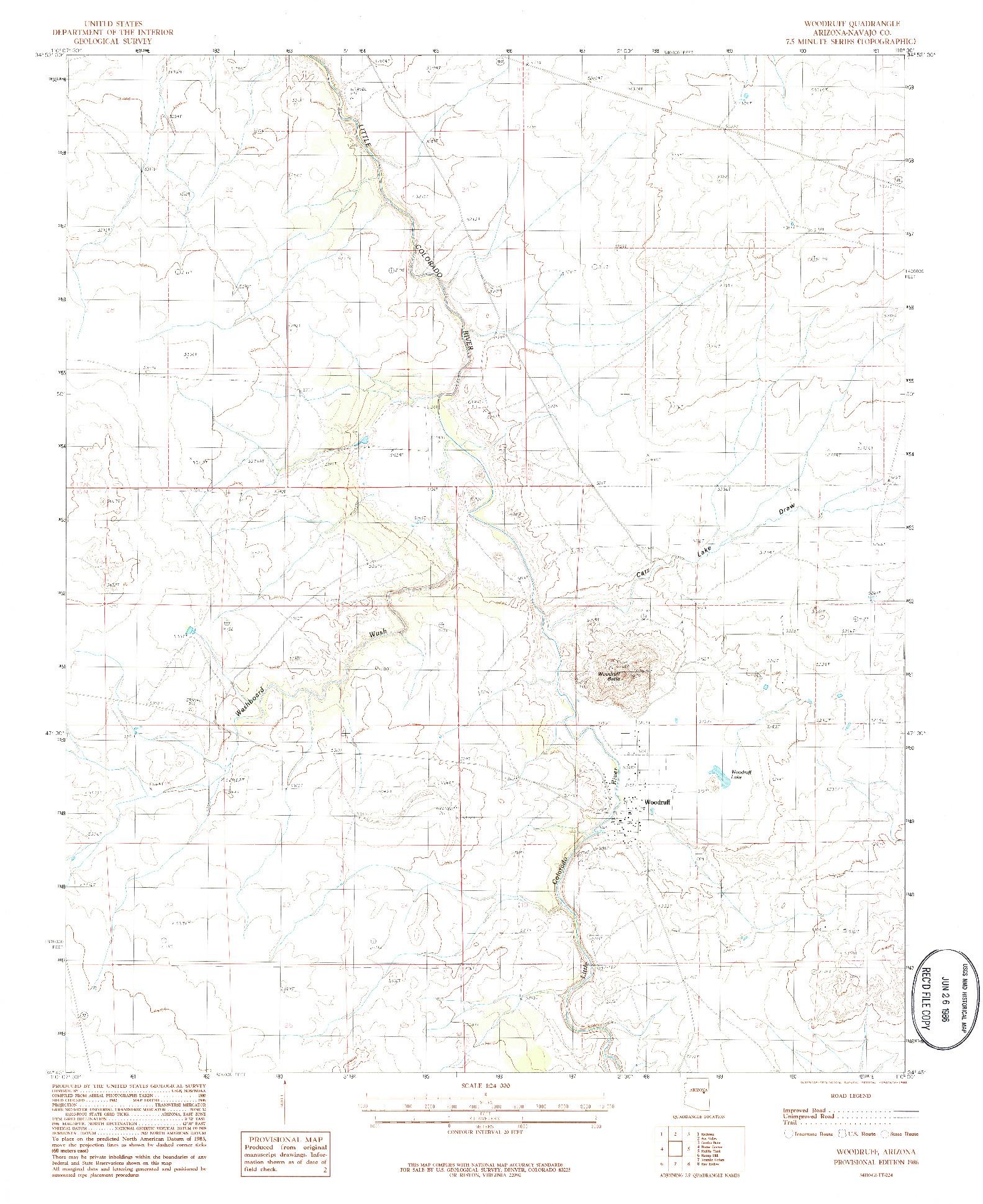 USGS 1:24000-SCALE QUADRANGLE FOR WOODRUFF, AZ 1986