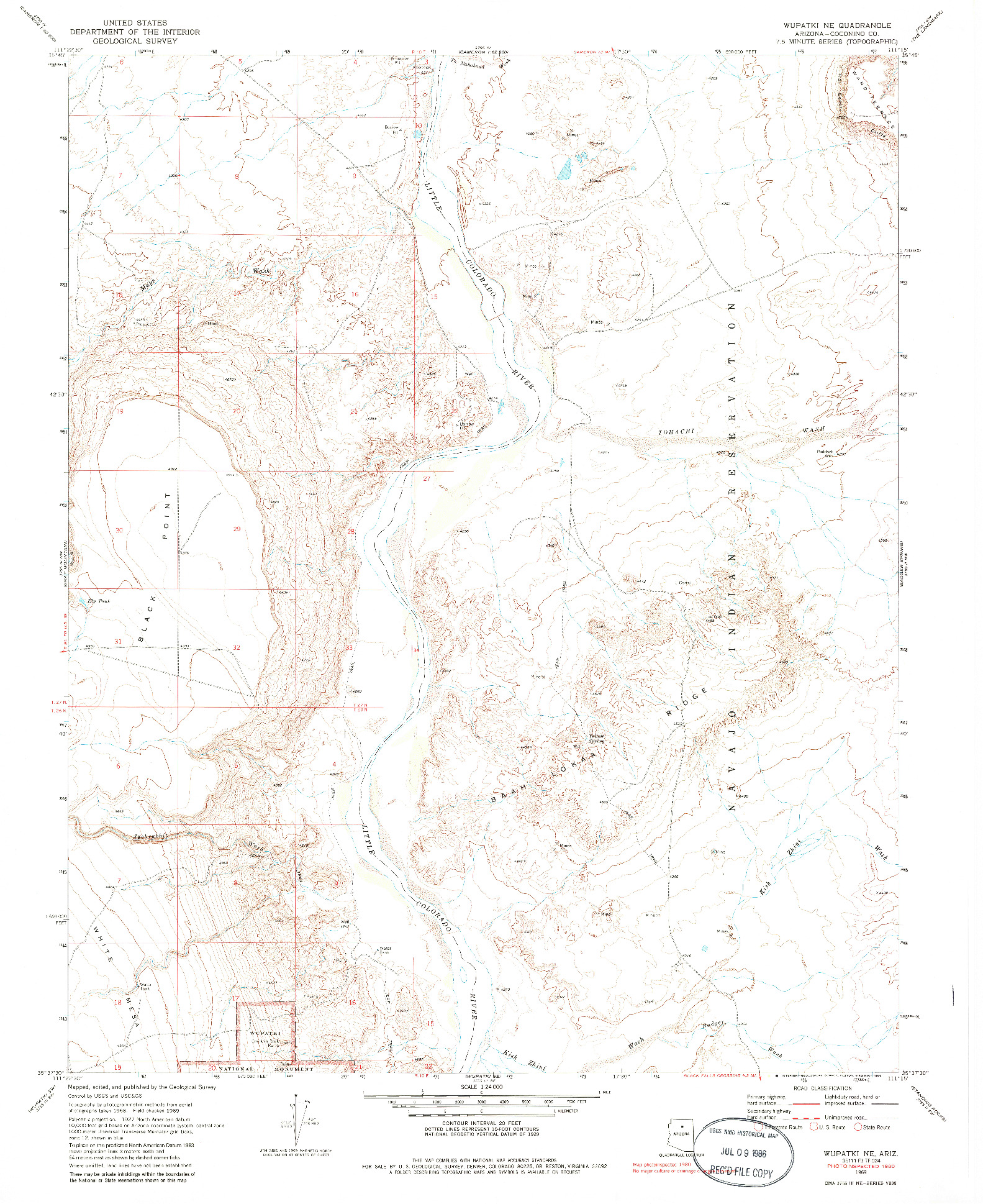 USGS 1:24000-SCALE QUADRANGLE FOR WUPATKI NE, AZ 1969
