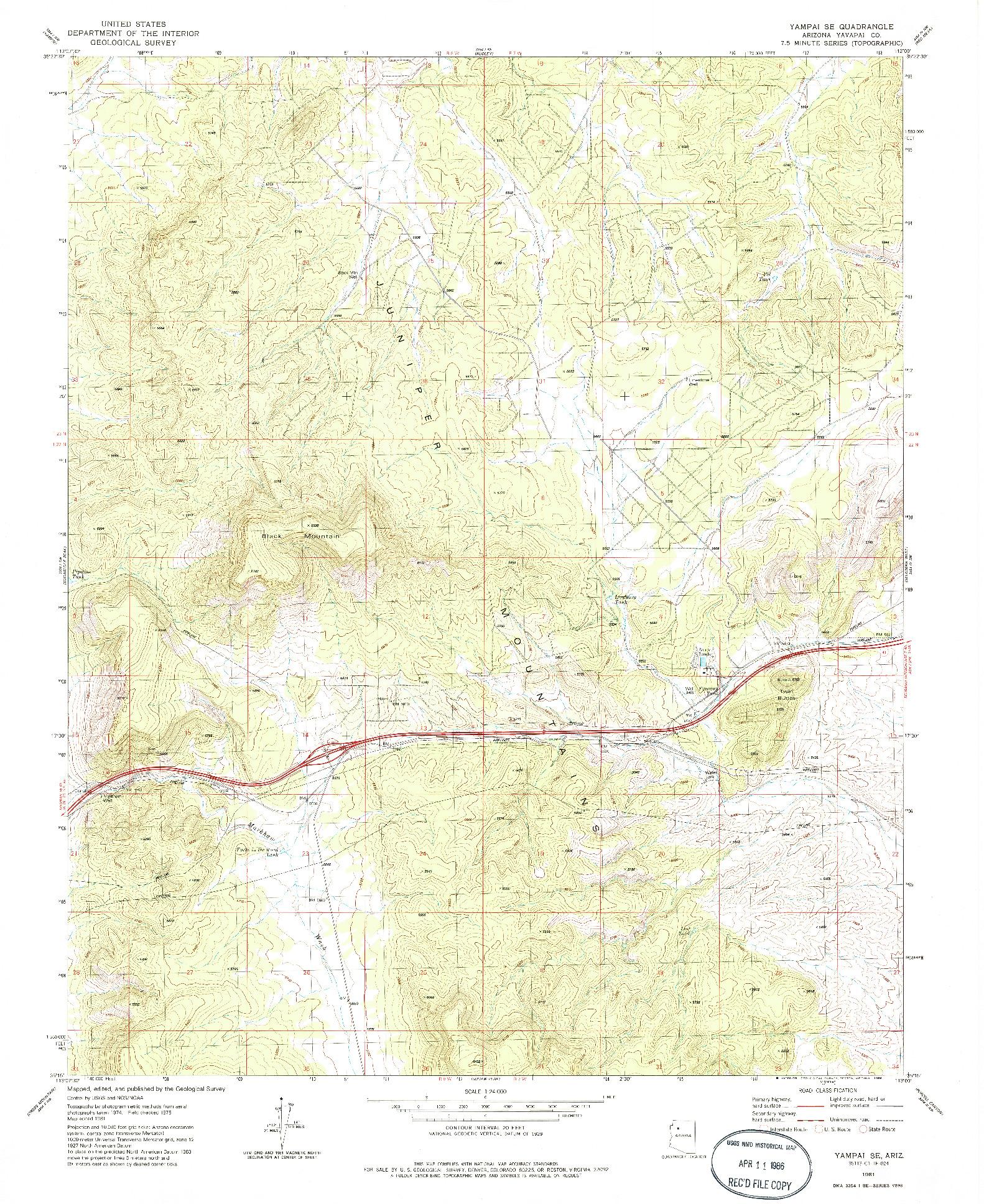 USGS 1:24000-SCALE QUADRANGLE FOR YAMPAI SE, AZ 1981