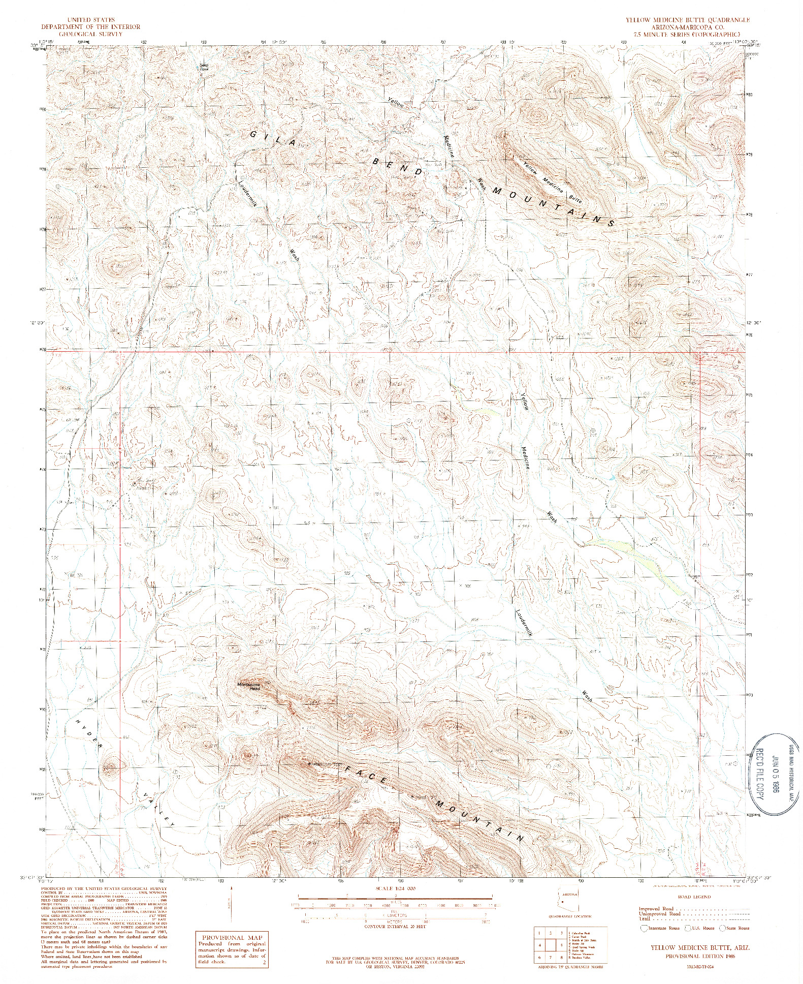 USGS 1:24000-SCALE QUADRANGLE FOR YELLOW MEDICINE BUTTE, AZ 1986
