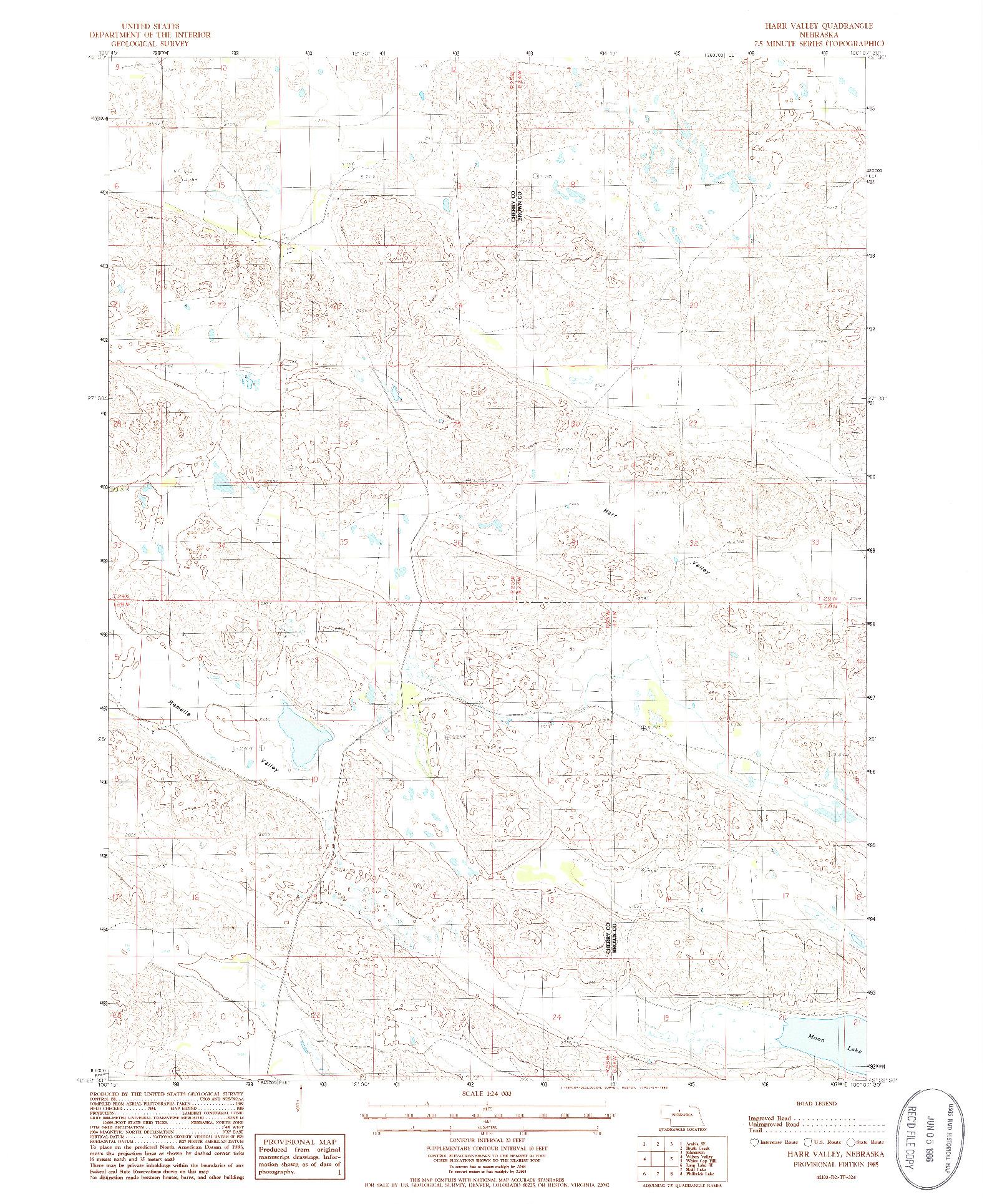 USGS 1:24000-SCALE QUADRANGLE FOR HARR VALLEY, NE 1985