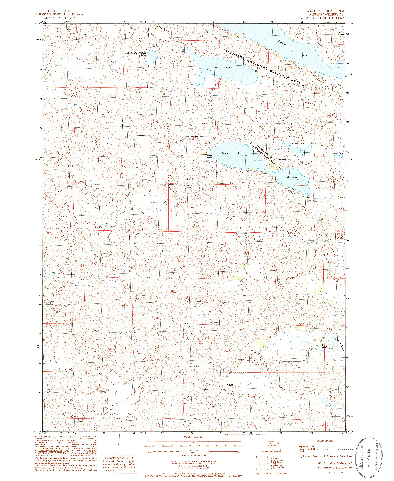 USGS 1:24000-SCALE QUADRANGLE FOR MULE LAKE, NE 1985