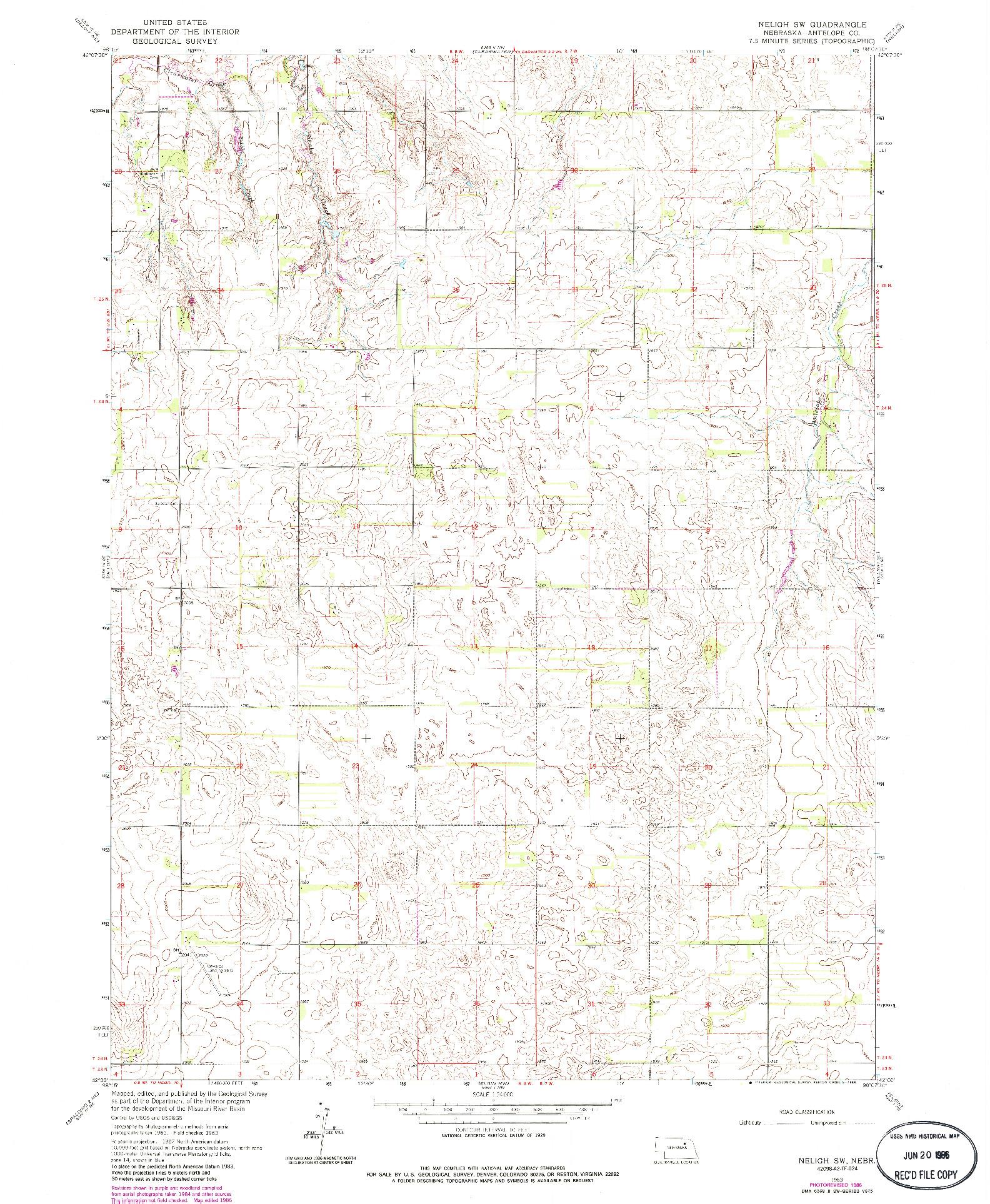 USGS 1:24000-SCALE QUADRANGLE FOR NELIGH SW, NE 1963