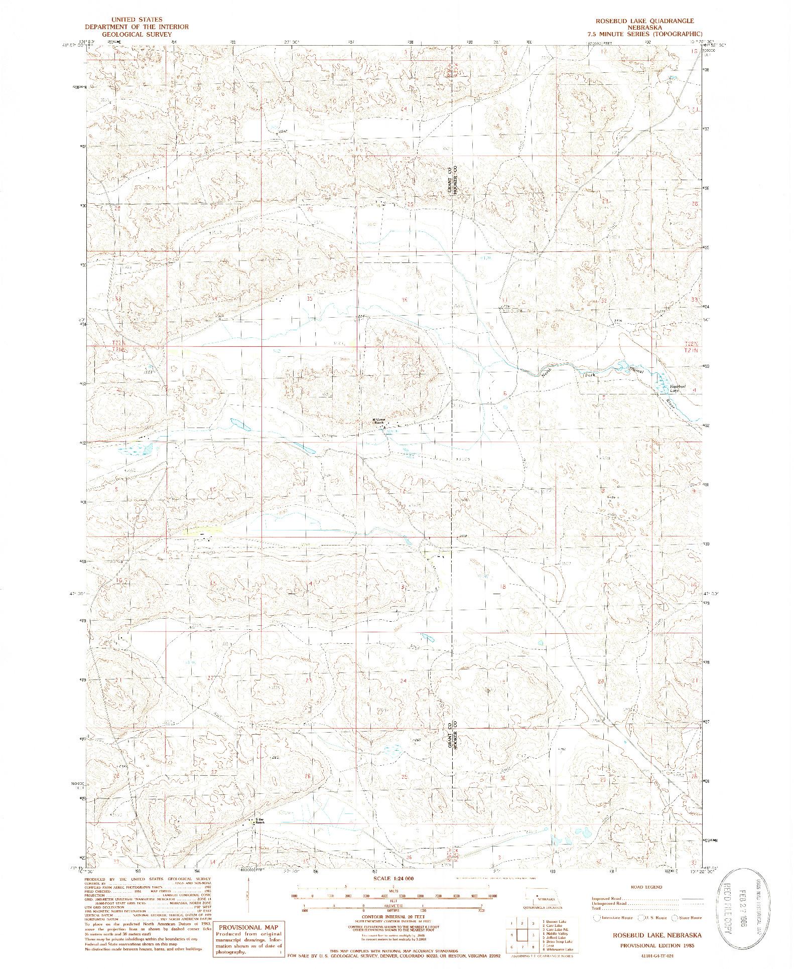 USGS 1:24000-SCALE QUADRANGLE FOR ROSEBUD LAKE, NE 1985