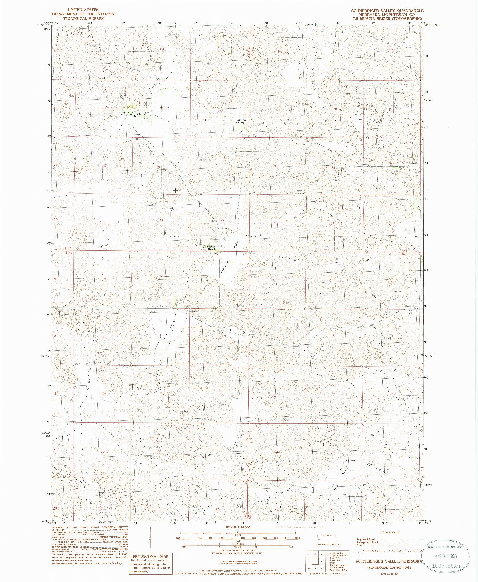 USGS 1:24000-SCALE QUADRANGLE FOR SCHNERINGER VALLEY, NE 1985