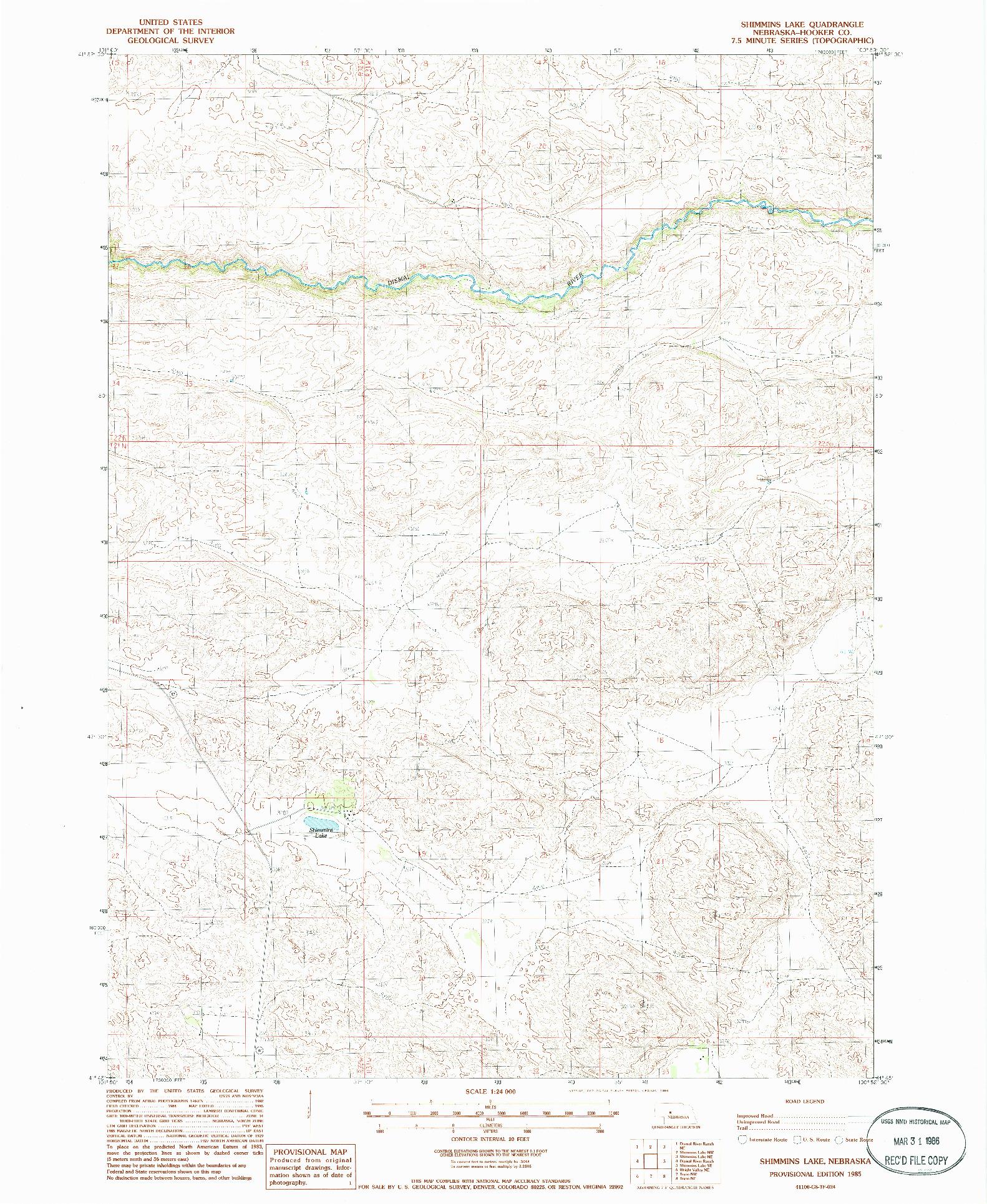 USGS 1:24000-SCALE QUADRANGLE FOR SHIMMINS LAKE, NE 1985