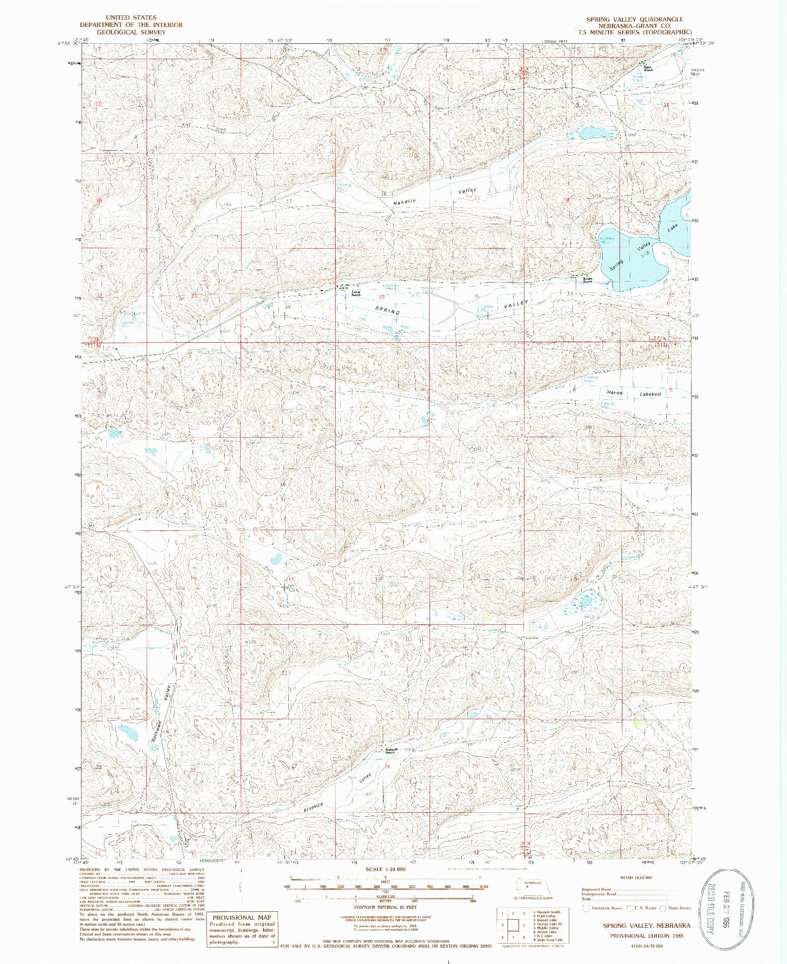 USGS 1:24000-SCALE QUADRANGLE FOR SPRING VALLEY, NE 1985