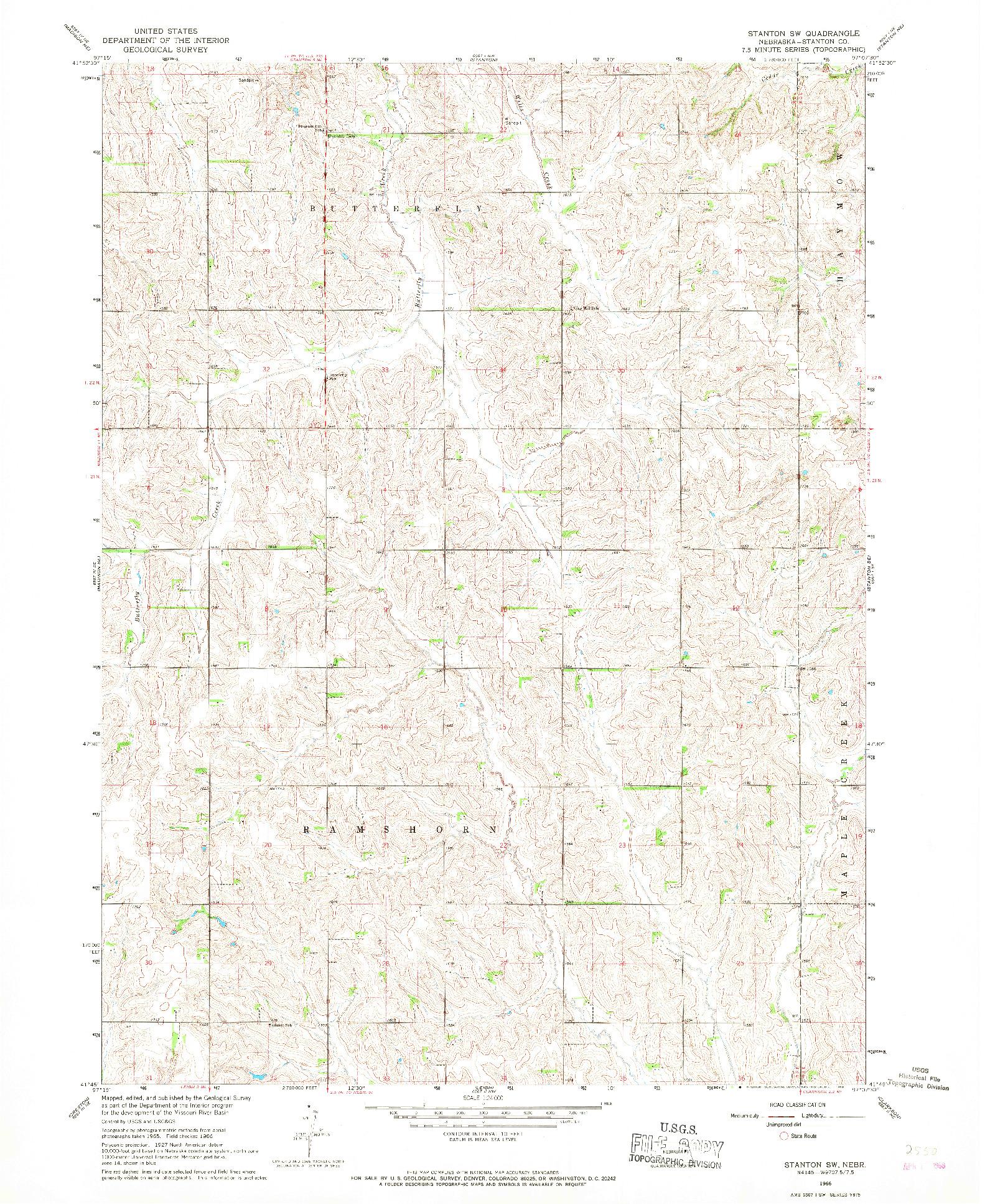 USGS 1:24000-SCALE QUADRANGLE FOR STANTON SW, NE 1966