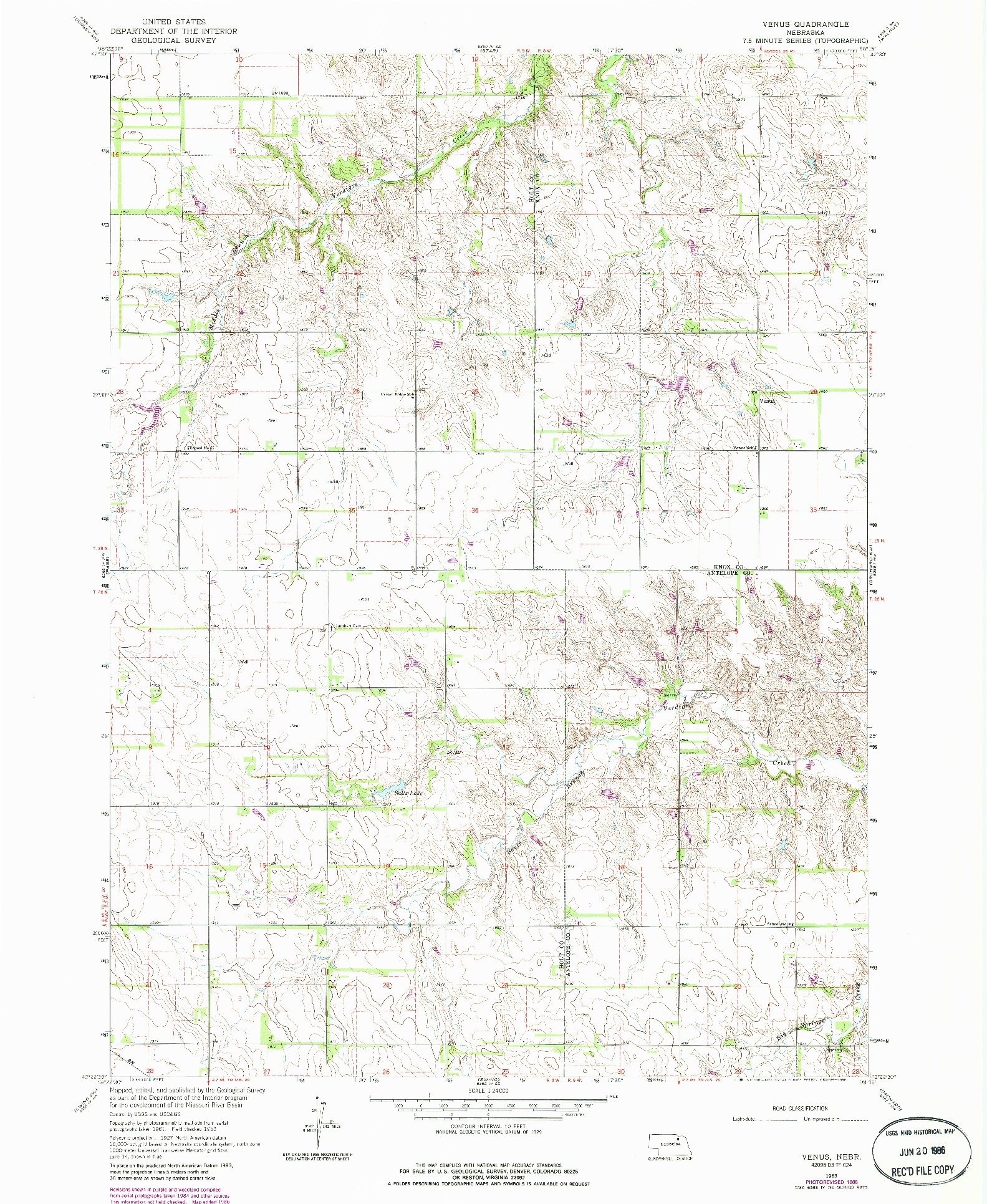 USGS 1:24000-SCALE QUADRANGLE FOR VENUS, NE 1963