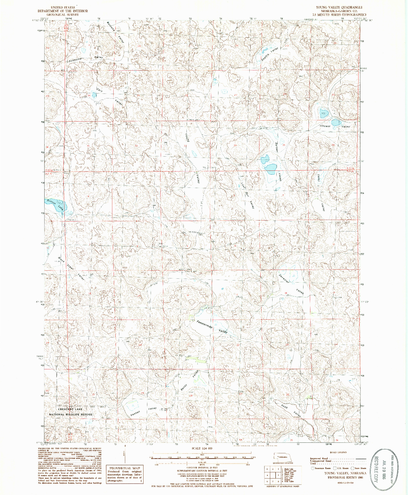 USGS 1:24000-SCALE QUADRANGLE FOR YOUNG VALLEY, NE 1986