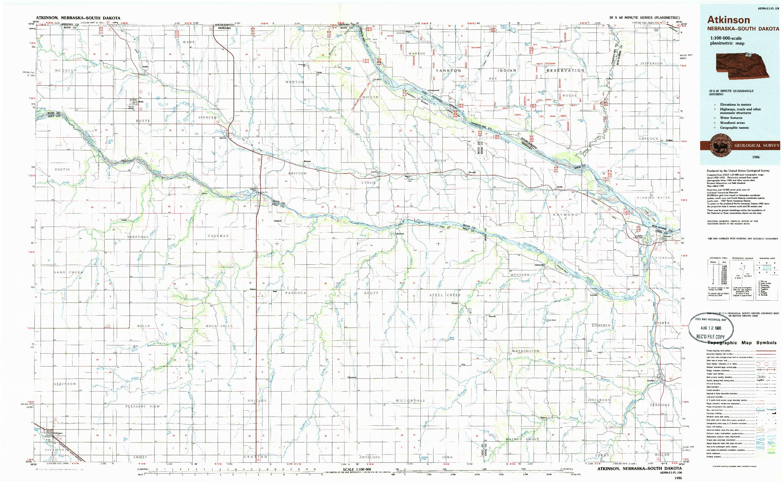 USGS 1:100000-SCALE QUADRANGLE FOR ATKINSON, NE 1986
