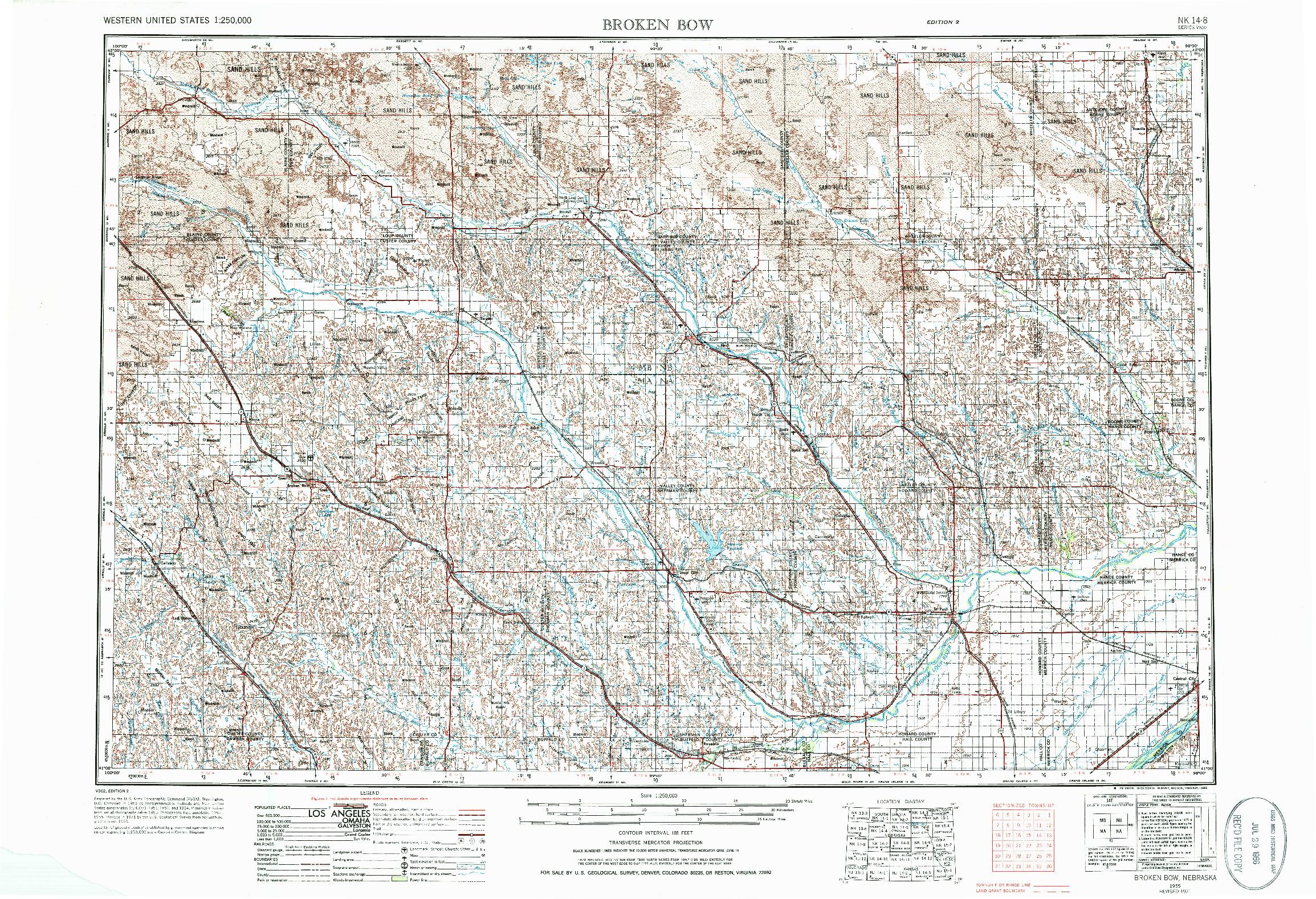 USGS 1:250000-SCALE QUADRANGLE FOR BROKEN BOW, NE 1955