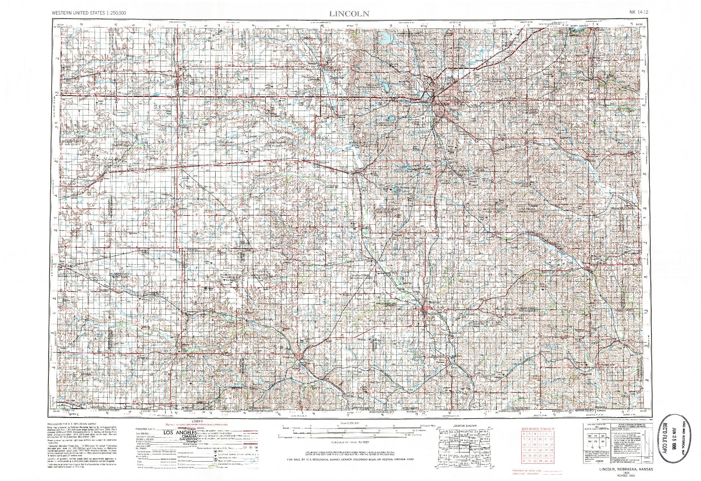USGS 1:250000-SCALE QUADRANGLE FOR LINCOLN, NE 1955