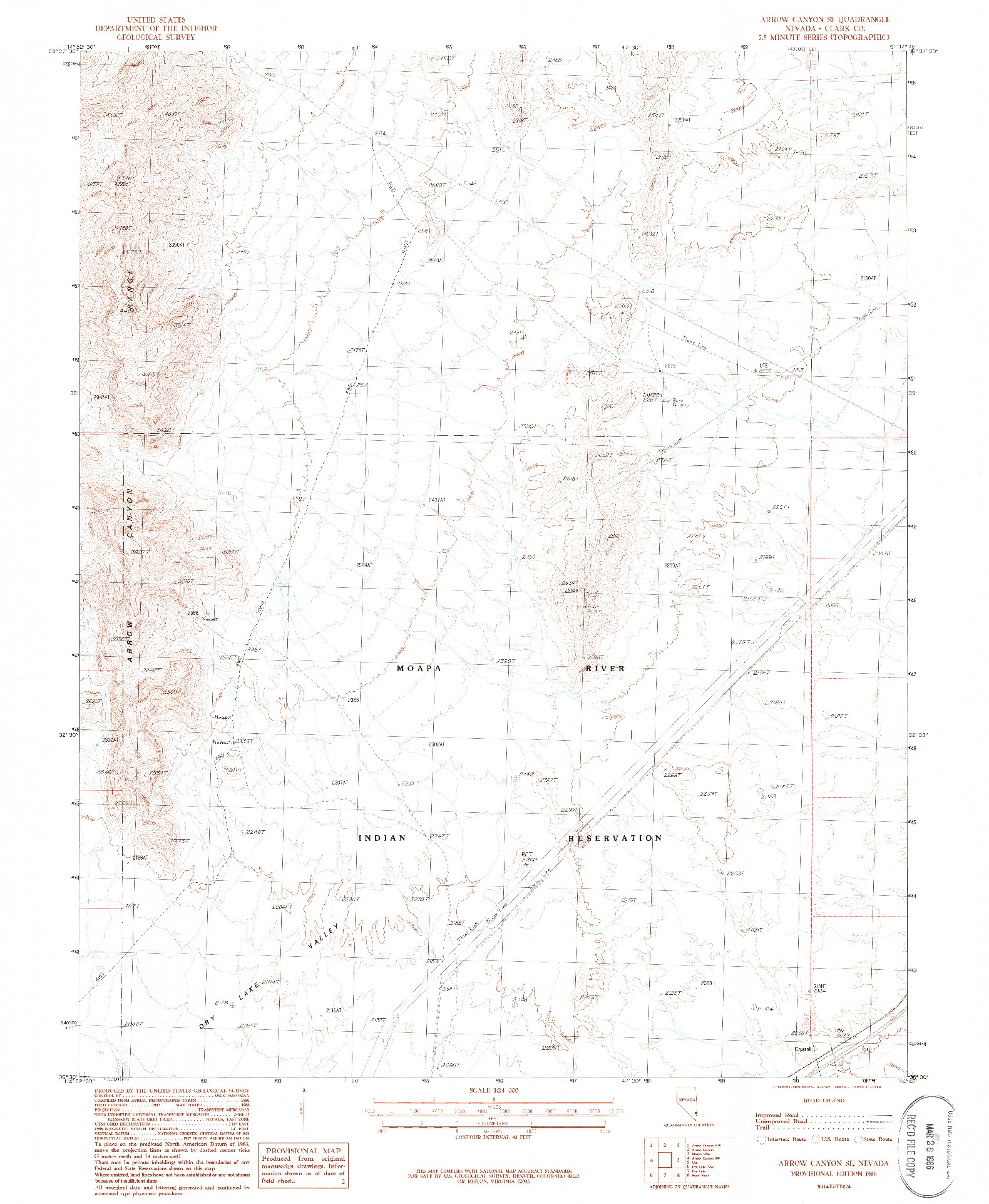USGS 1:24000-SCALE QUADRANGLE FOR ARROW CANYON SE, NV 1986