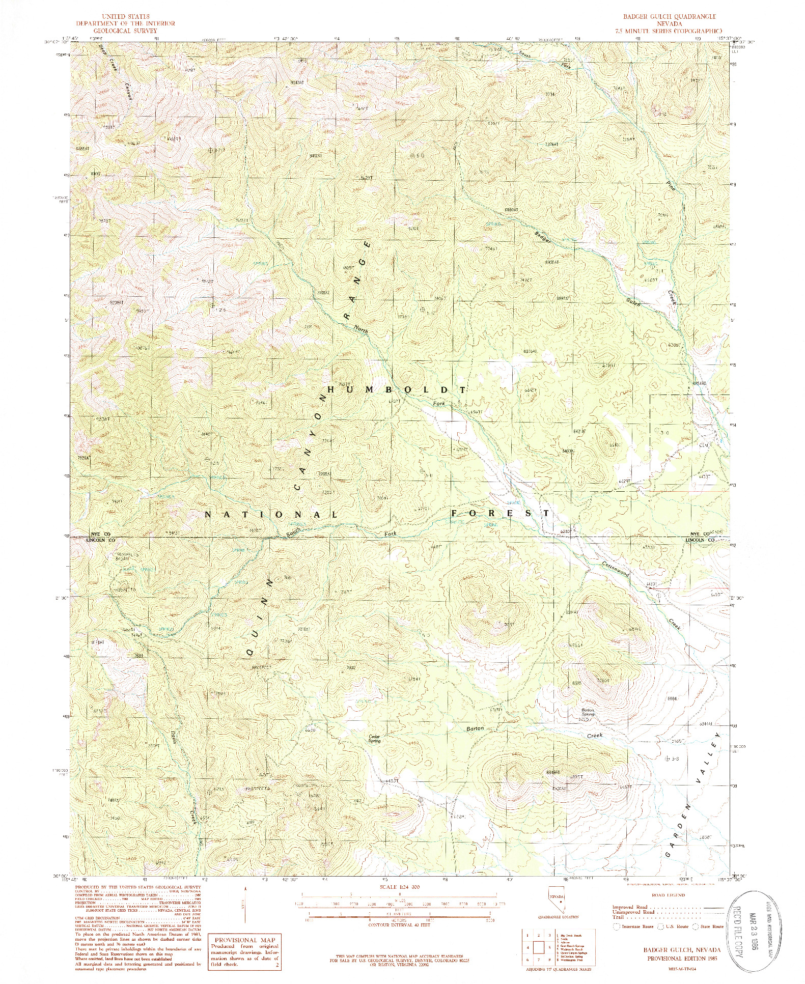 USGS 1:24000-SCALE QUADRANGLE FOR BADGER GULCH, NV 1985