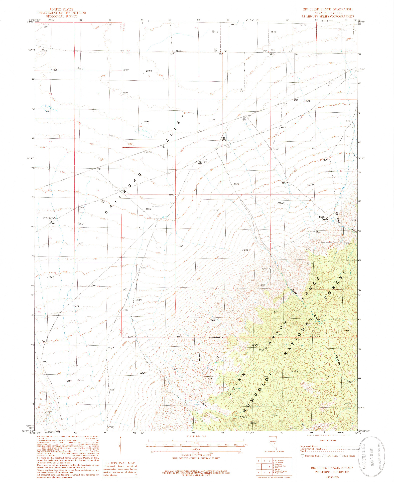 USGS 1:24000-SCALE QUADRANGLE FOR BIG CREEK RANCH, NV 1985