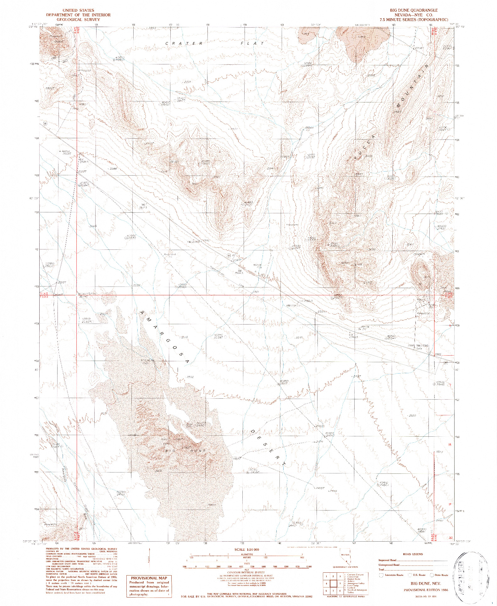 USGS 1:24000-SCALE QUADRANGLE FOR BIG DUNE, NV 1986