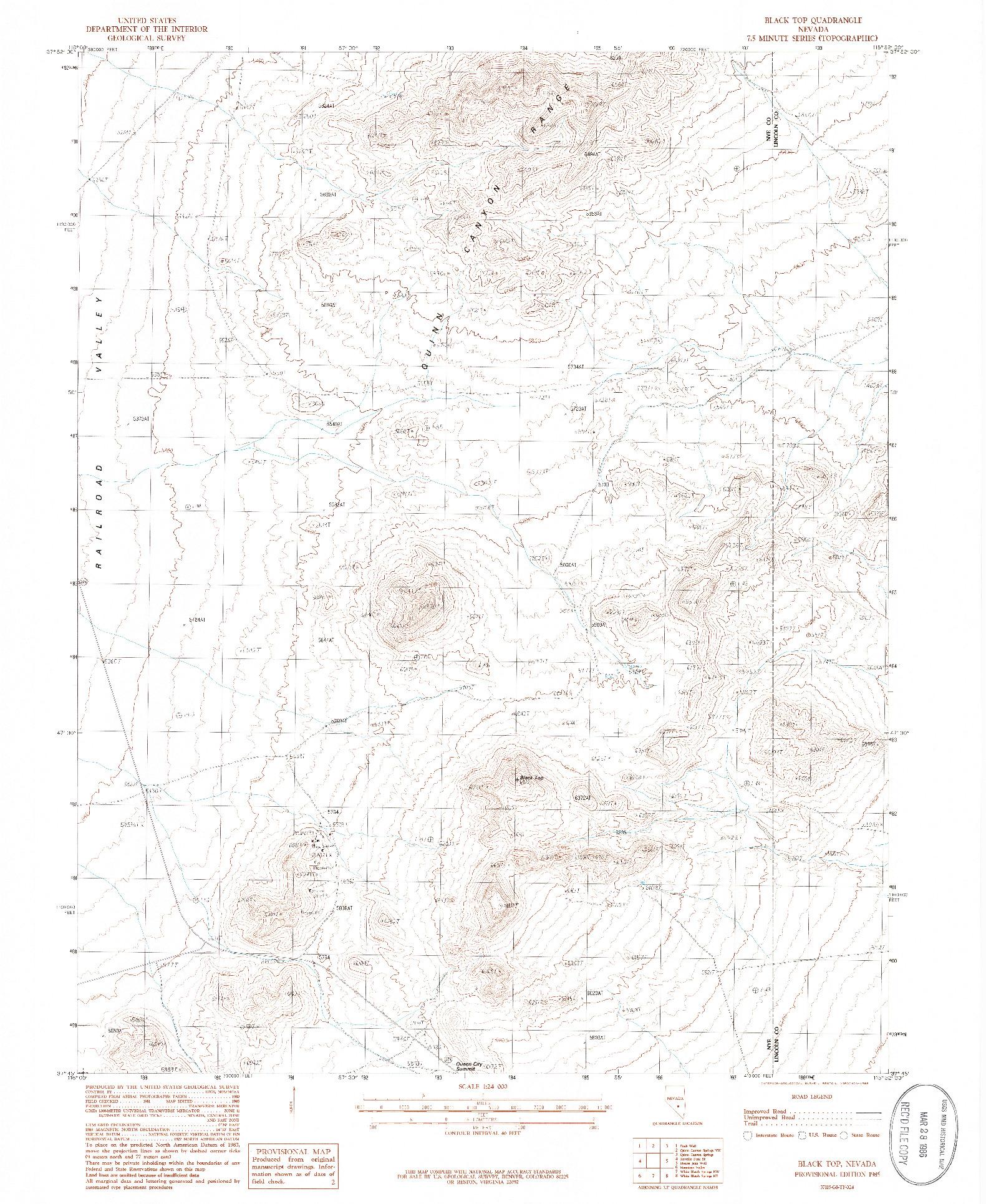 USGS 1:24000-SCALE QUADRANGLE FOR BLACK TOP, NV 1985