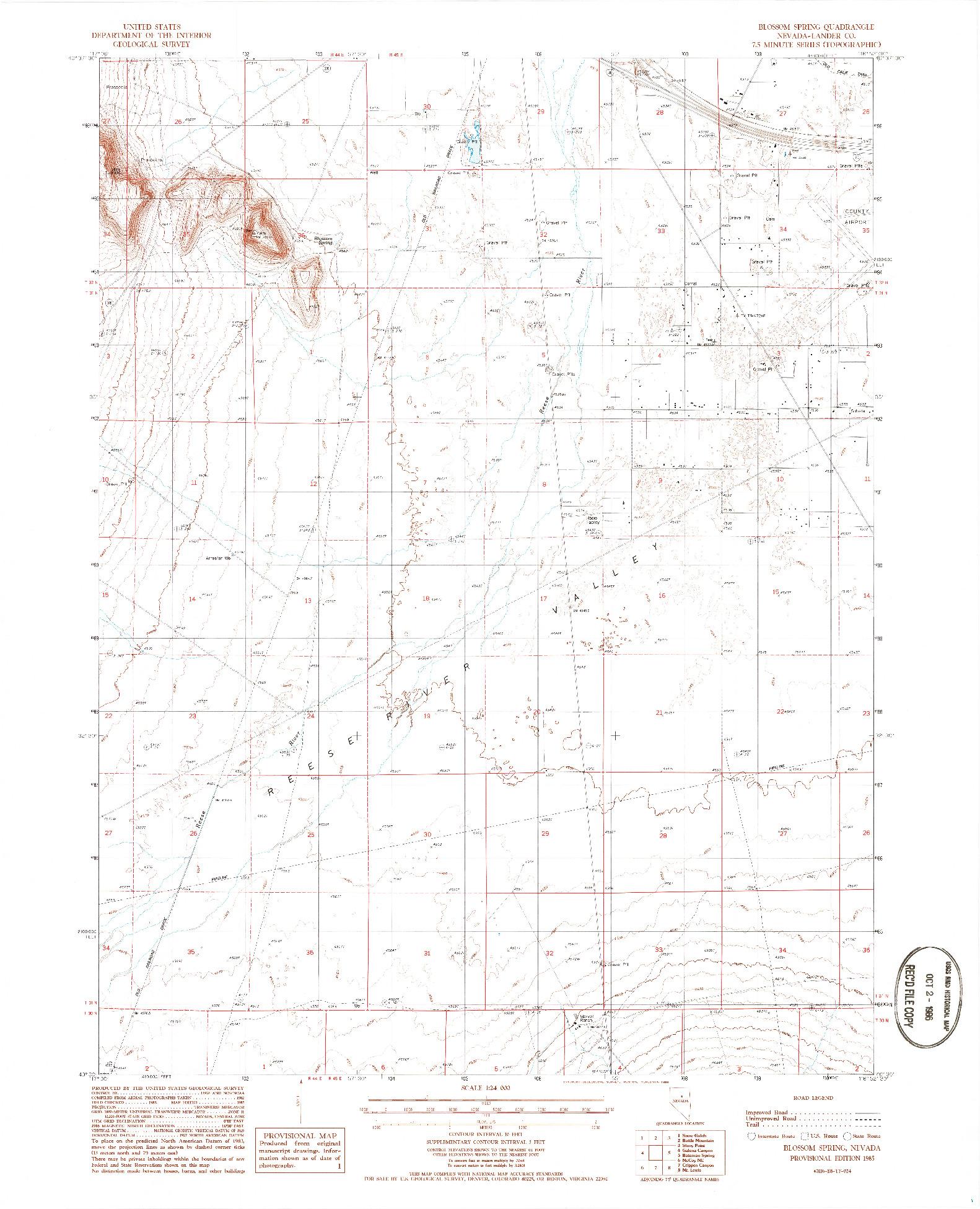 USGS 1:24000-SCALE QUADRANGLE FOR BLOSSOM SPRING, NV 1985