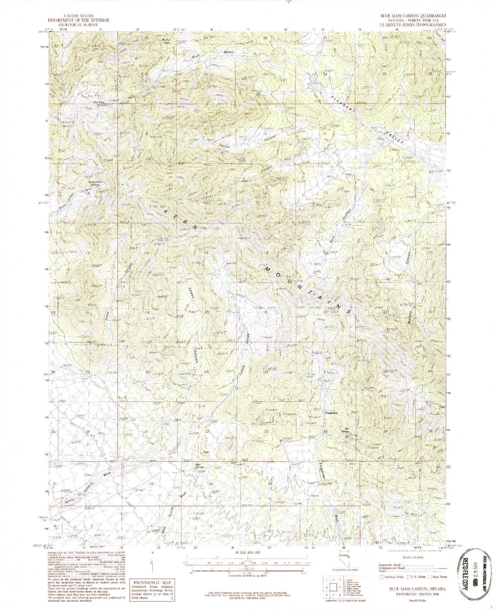 USGS 1:24000-SCALE QUADRANGLE FOR BLUE MASS CANYON, NV 1986