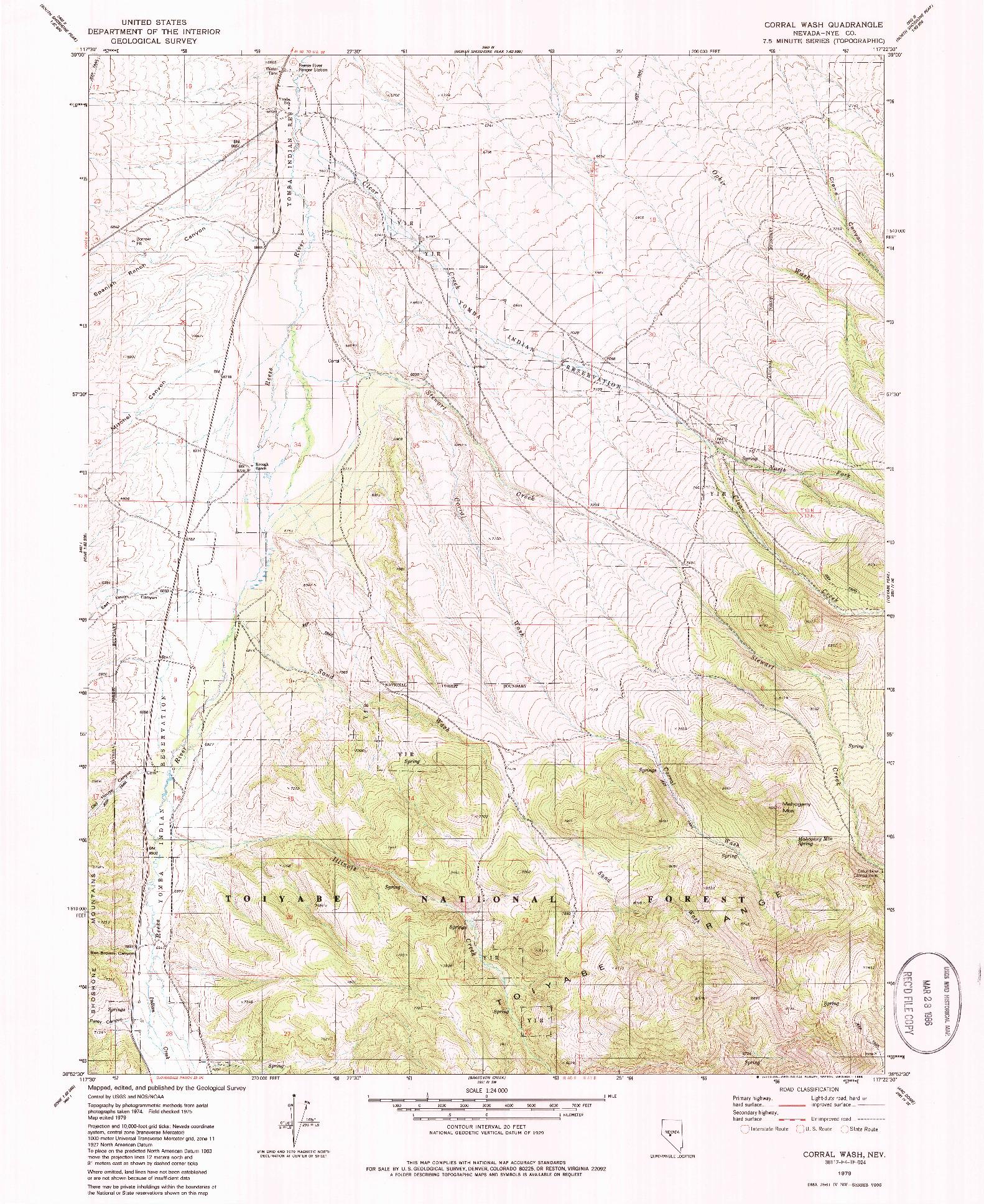 USGS 1:24000-SCALE QUADRANGLE FOR CORRAL WASH, NV 1979