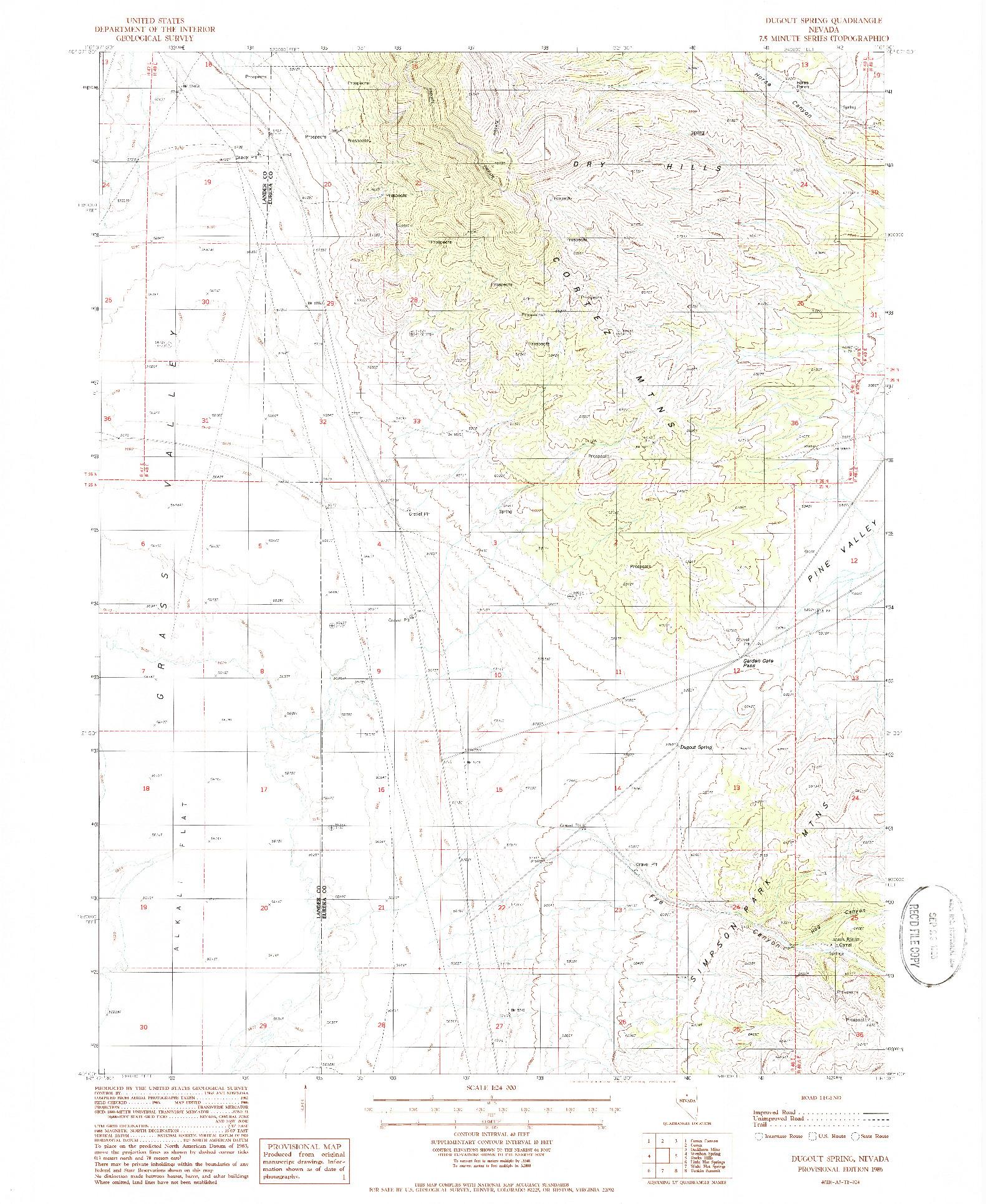 USGS 1:24000-SCALE QUADRANGLE FOR DUGOUT SPRING, NV 1986