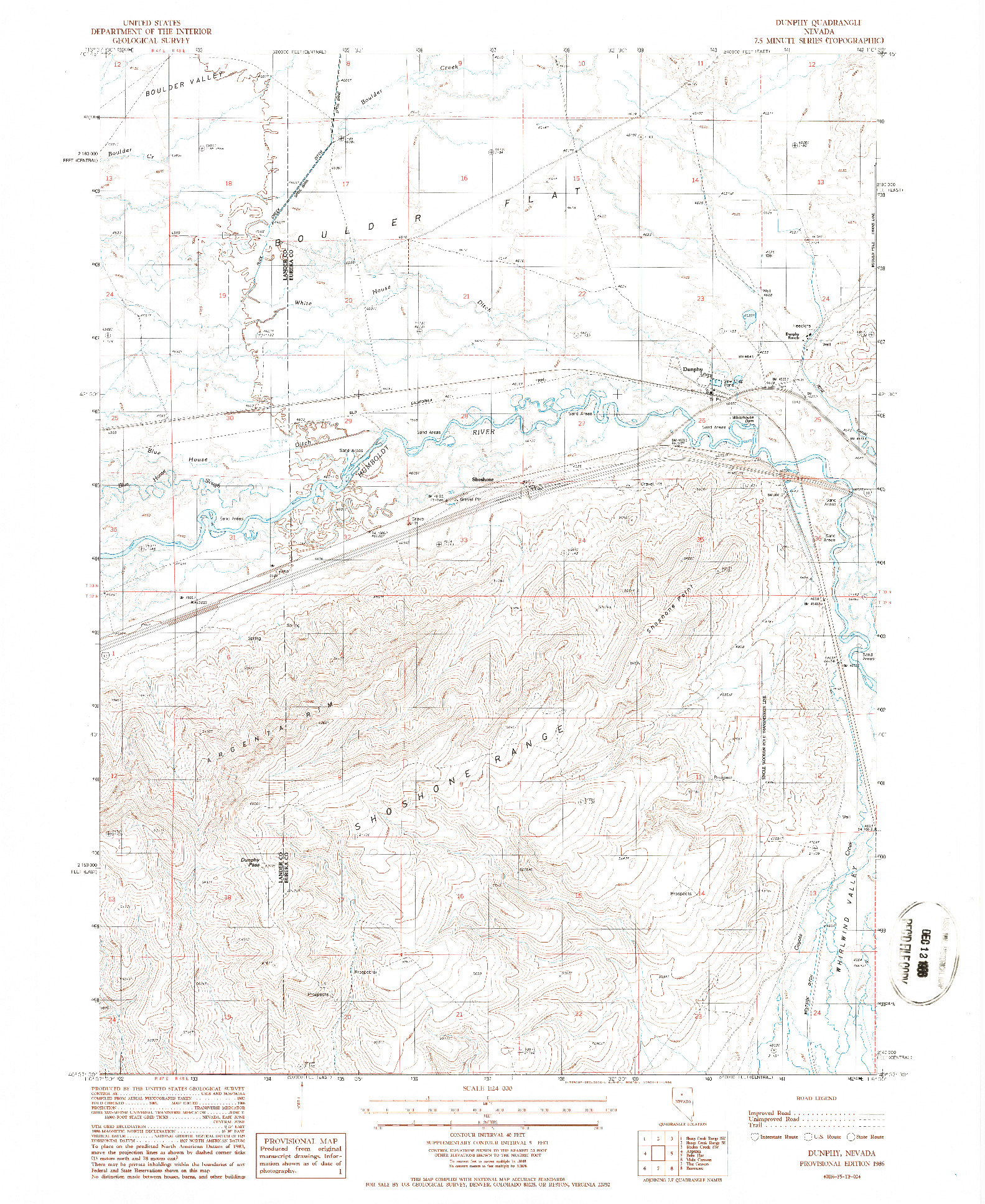 USGS 1:24000-SCALE QUADRANGLE FOR DUNPHY, NV 1986